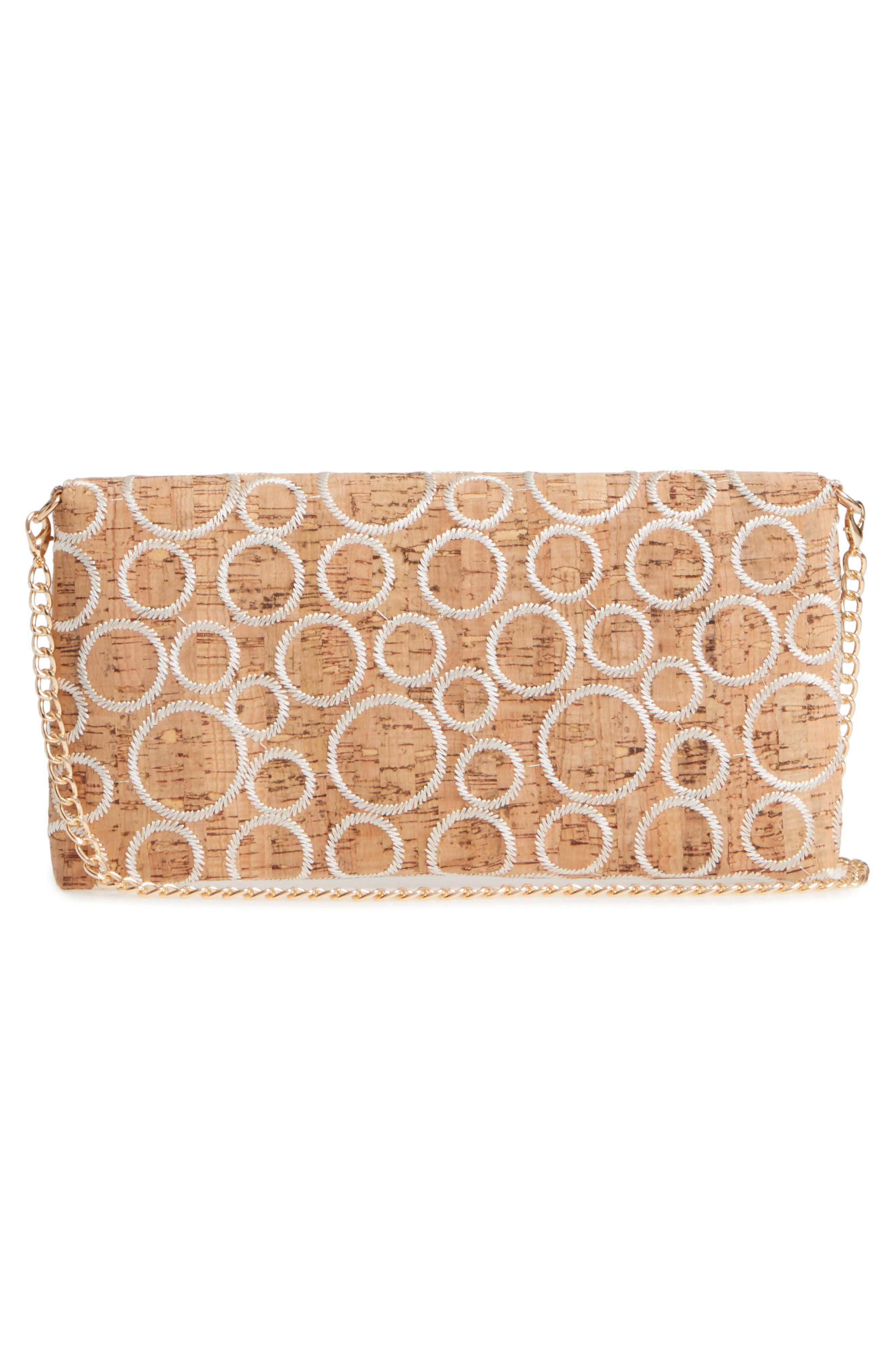 Embroidered Clutch,                             Alternate thumbnail 3, color,                             Natural/ White