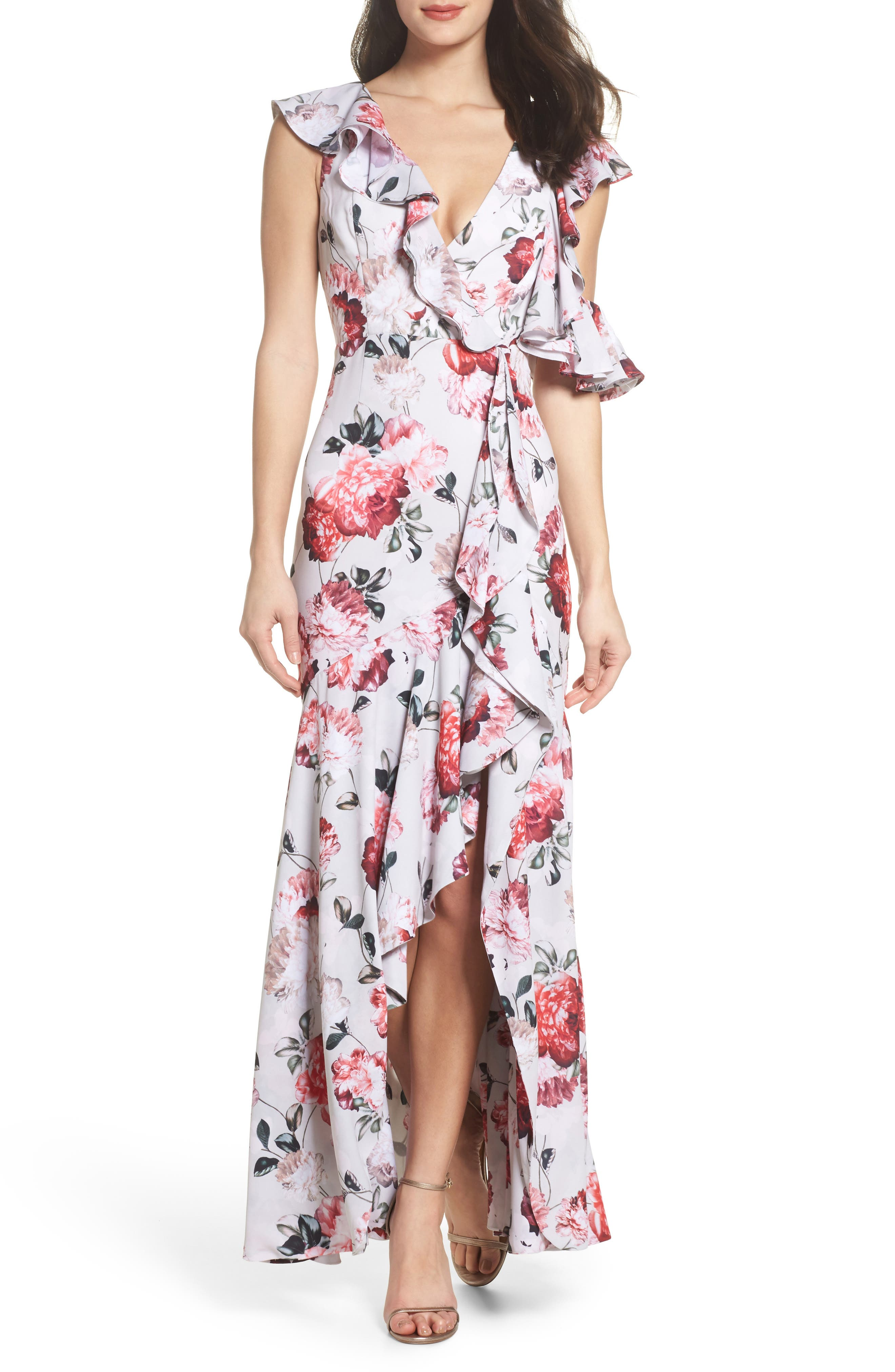 Beckman Floral Georgette Ruffle Maxi Dress,                             Main thumbnail 1, color,                             Blushing Blooms