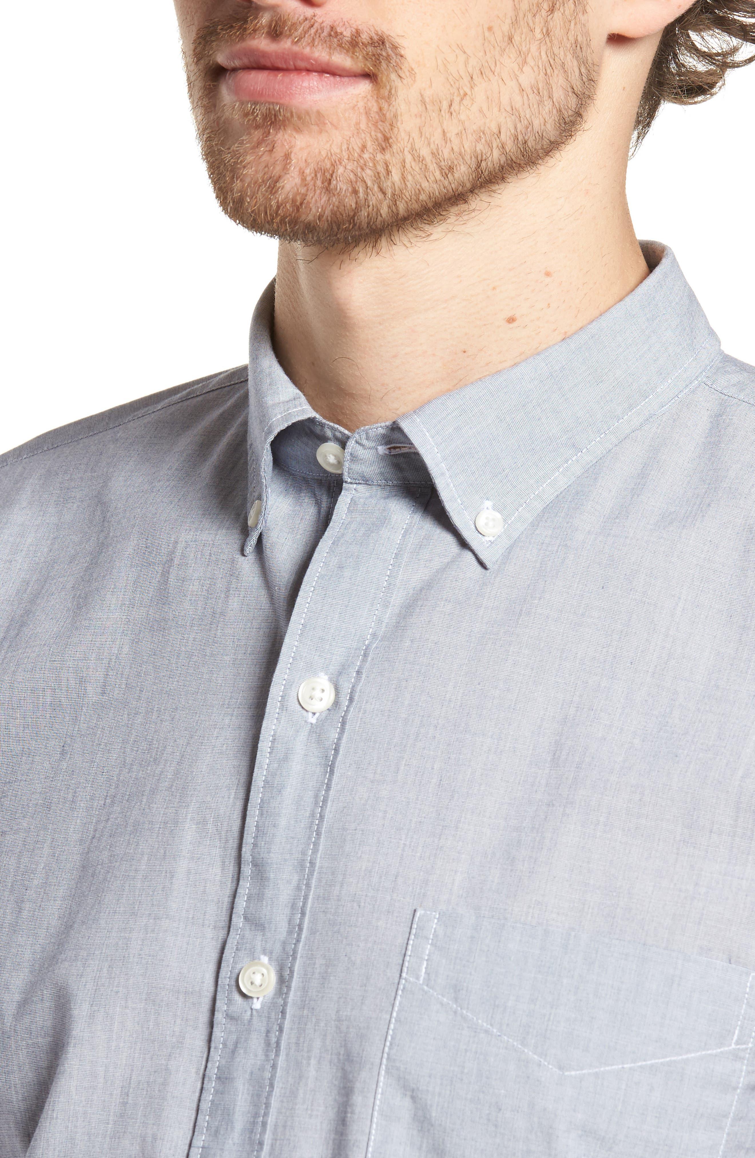Summerweight Slim Fit Sport Shirt,                             Alternate thumbnail 4, color,                             End On End Solid - Blue Depths