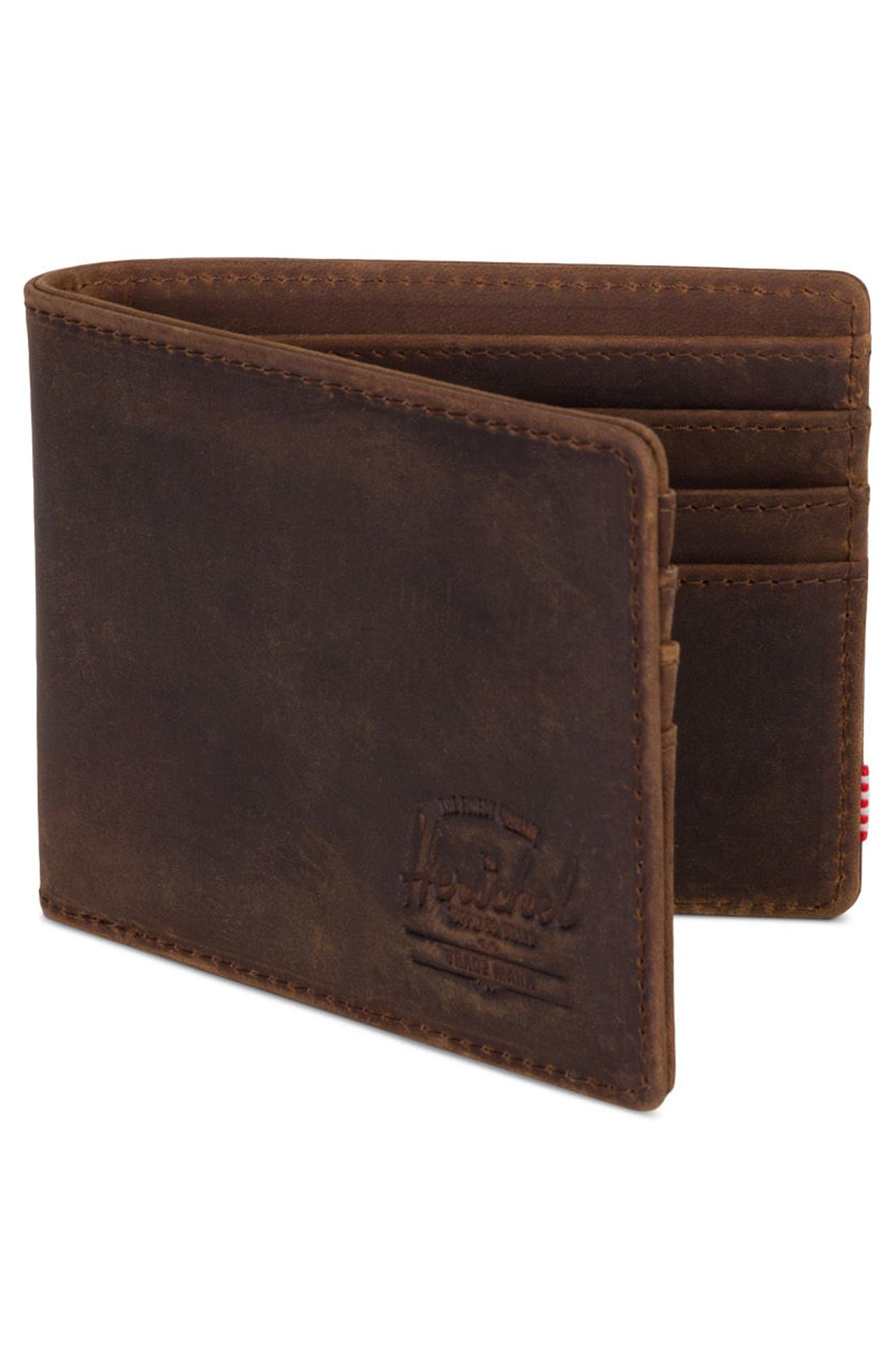 Roy Leather Wallet,                             Alternate thumbnail 3, color,                             Brown