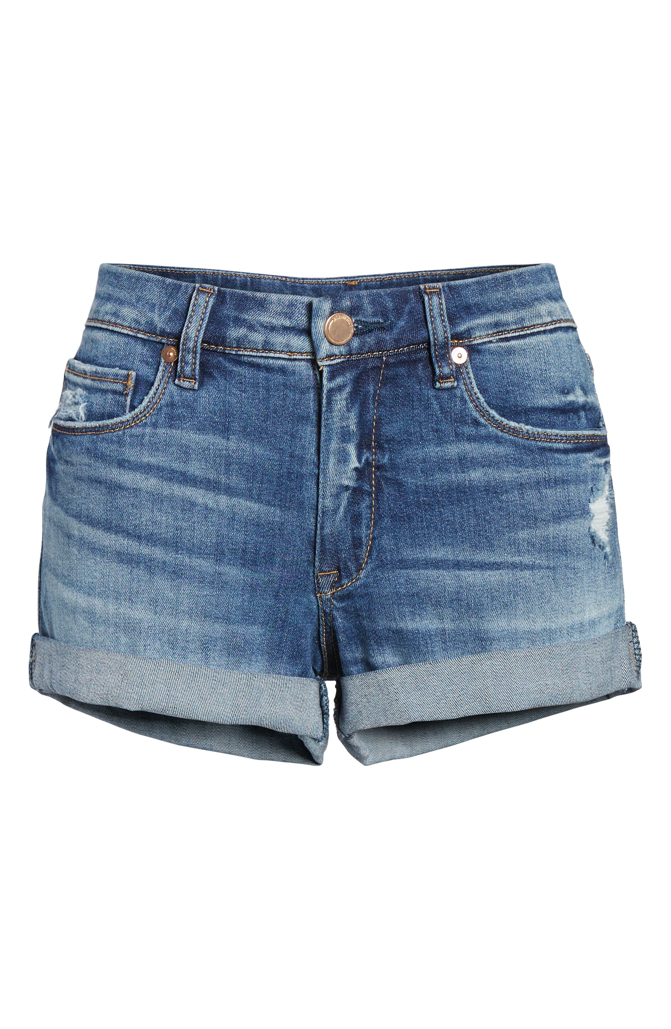 Plalay Hard Cuffed Jean Shorts,                             Alternate thumbnail 5, color,                             Blue