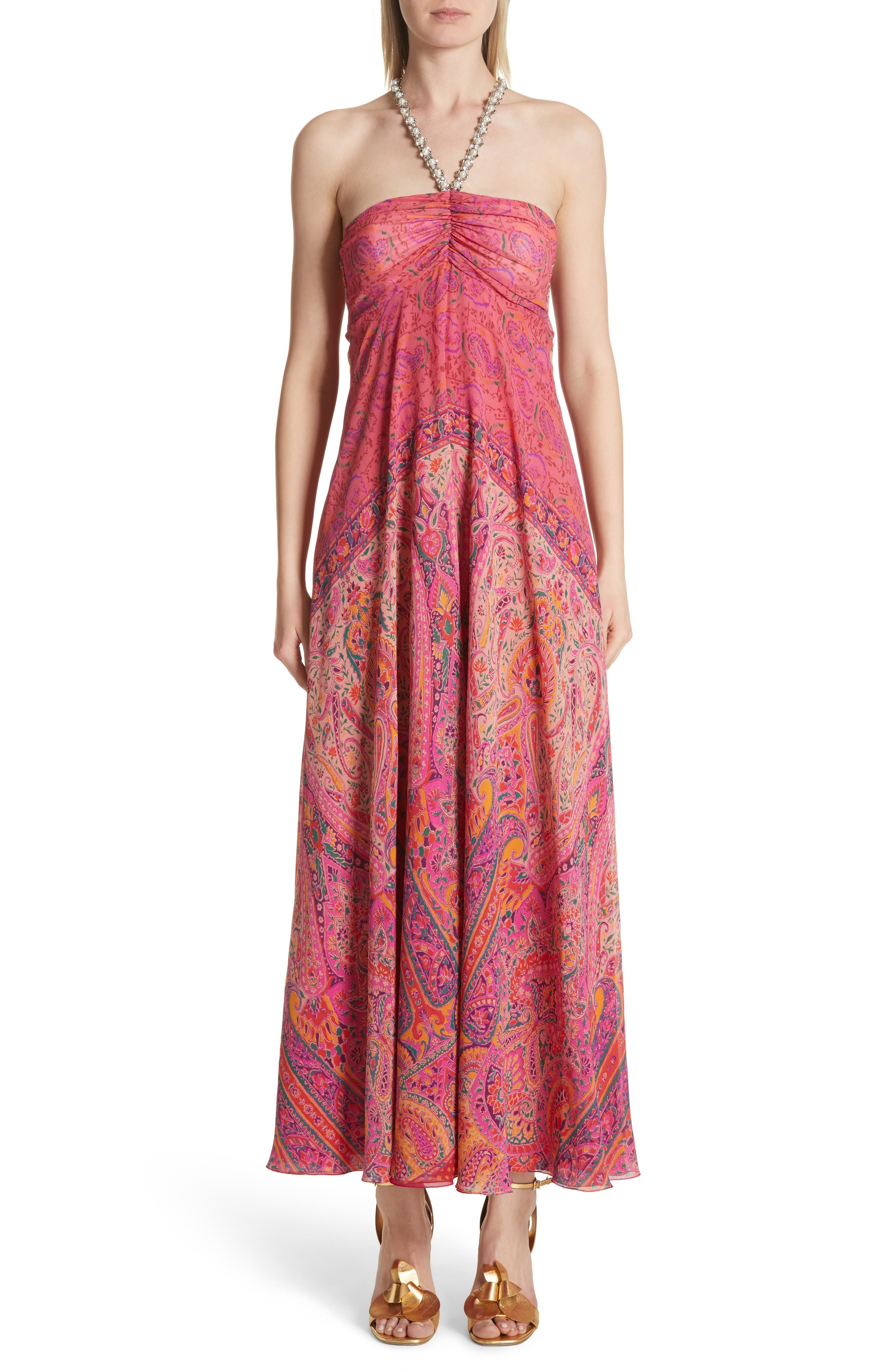 Beaded Halter Neck Silk Maxi Dress with Cape,                         Main,                         color, Pink