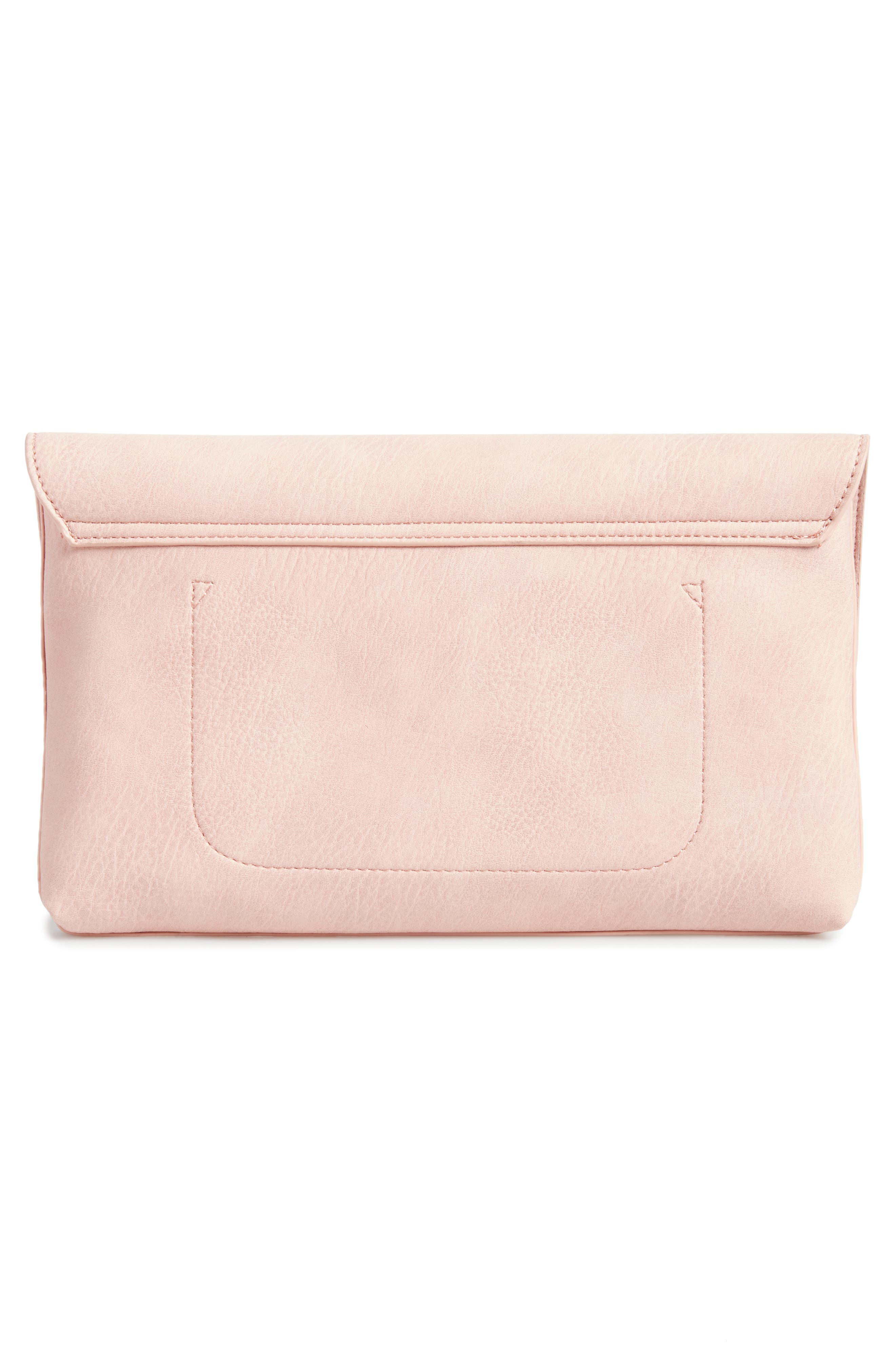Faux Leather Circle Clutch,                             Alternate thumbnail 3, color,                             Pink