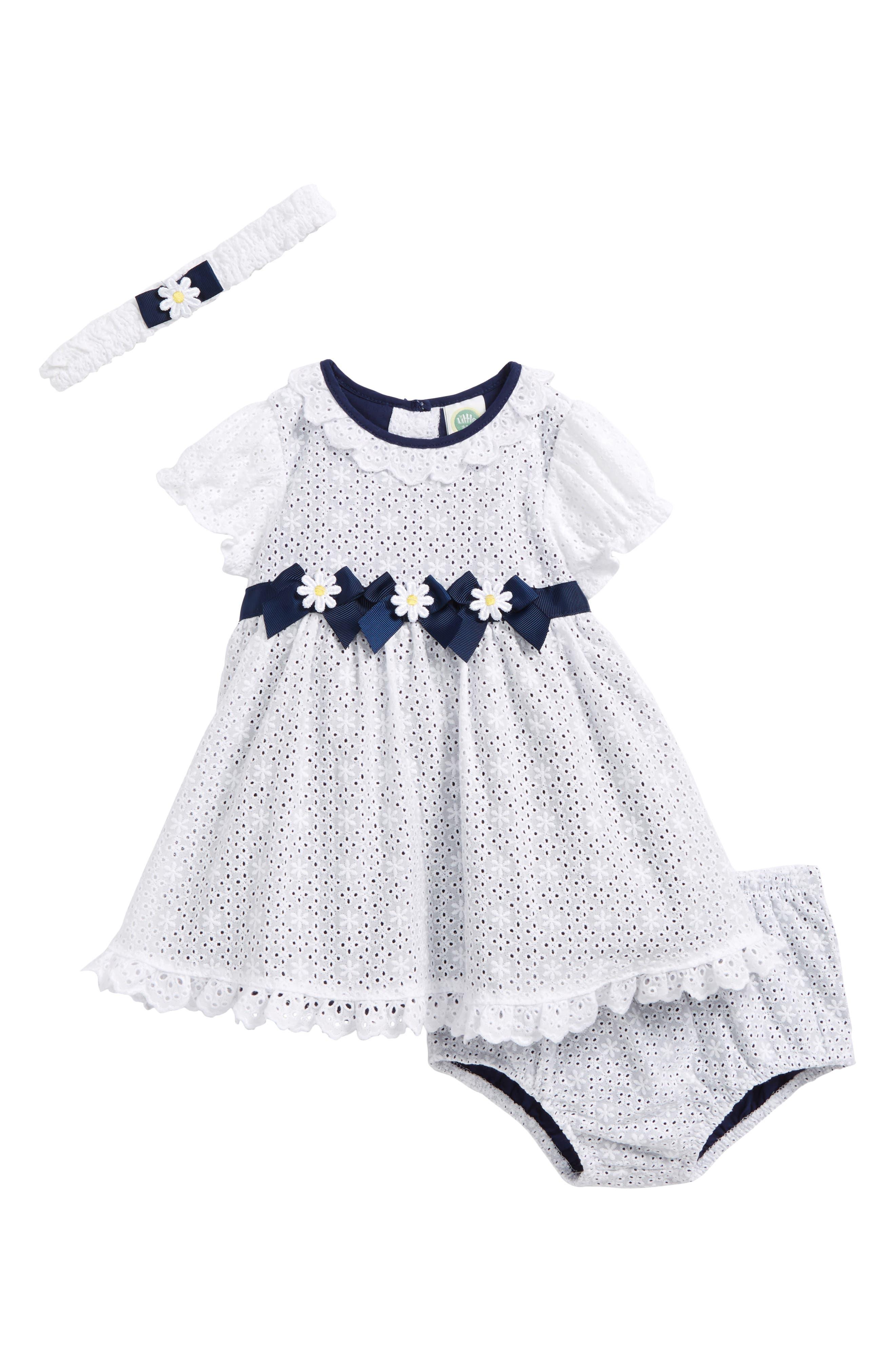 Little Me Eyelet Daisy Dress & Headband Set (Baby Girls)