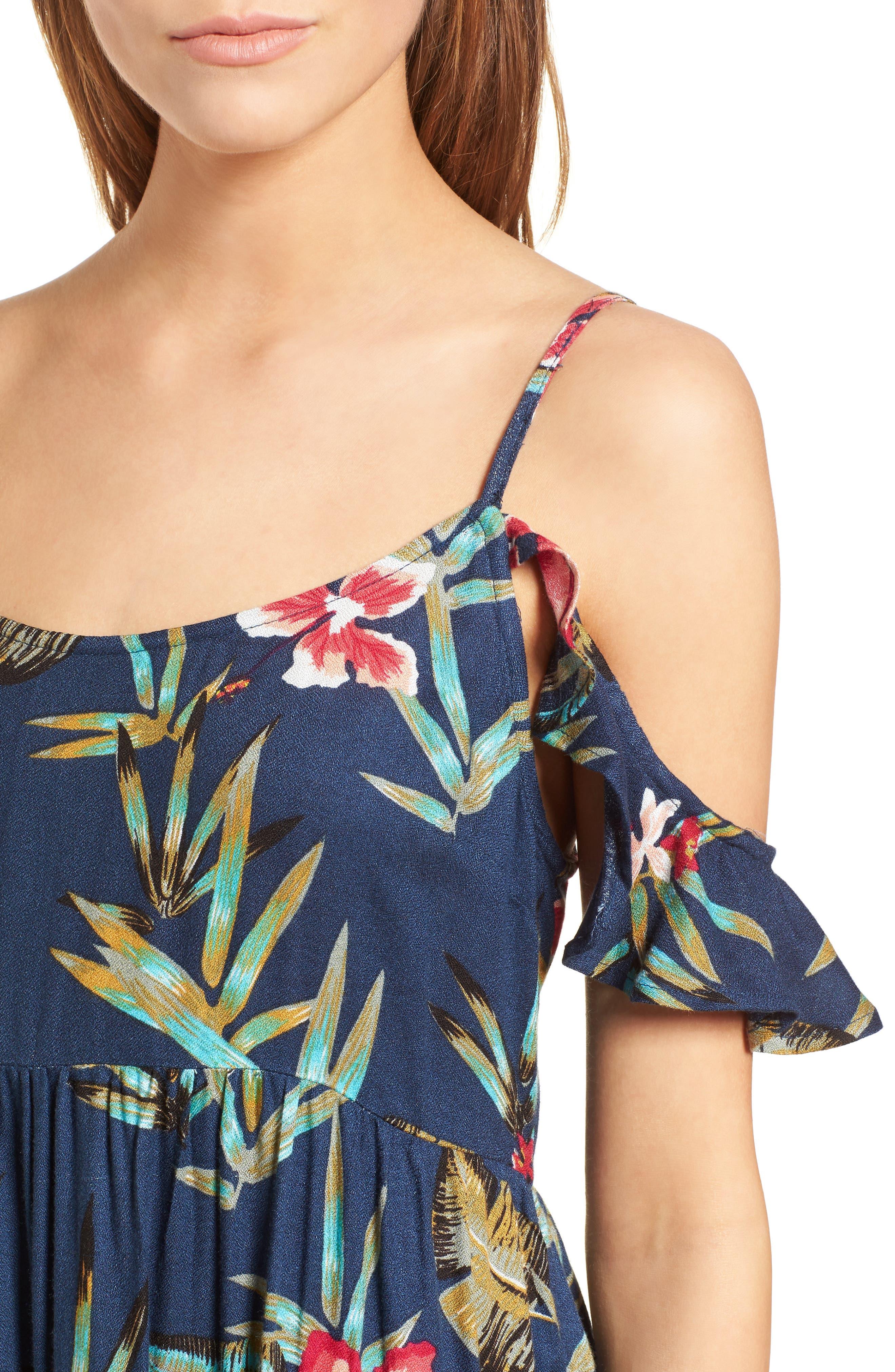 Do It My Way Cold Shoulder Sundress,                             Alternate thumbnail 4, color,                             Dress Blue Isle