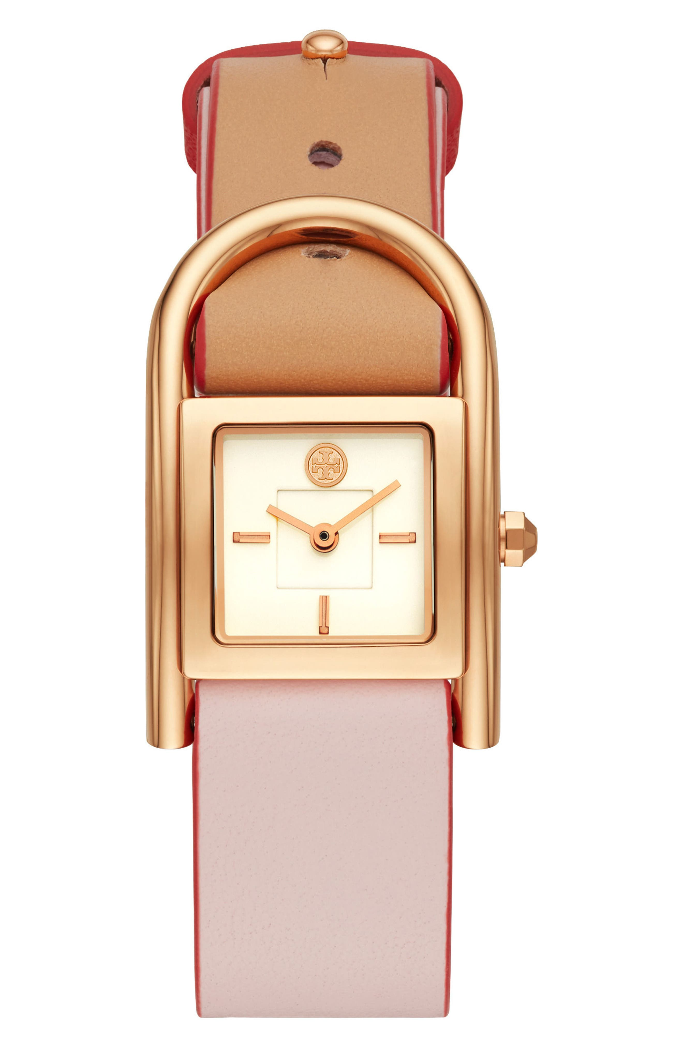 Thayer Leather Strap Watch, 25mm x 39mm,                             Main thumbnail 1, color,                             Rose Gold/ Cream/ Rose Gold