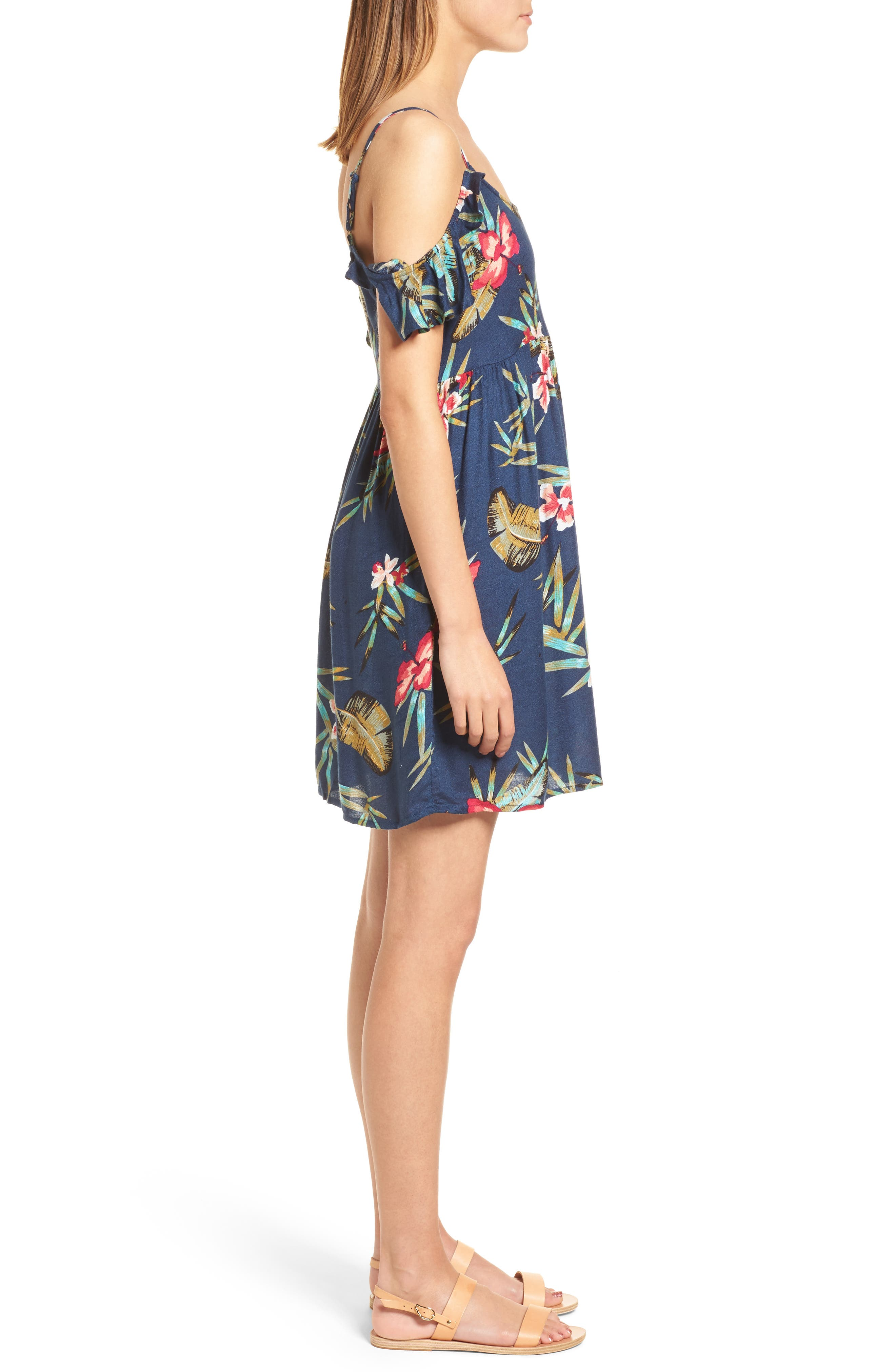 Do It My Way Cold Shoulder Sundress,                             Alternate thumbnail 3, color,                             Dress Blue Isle