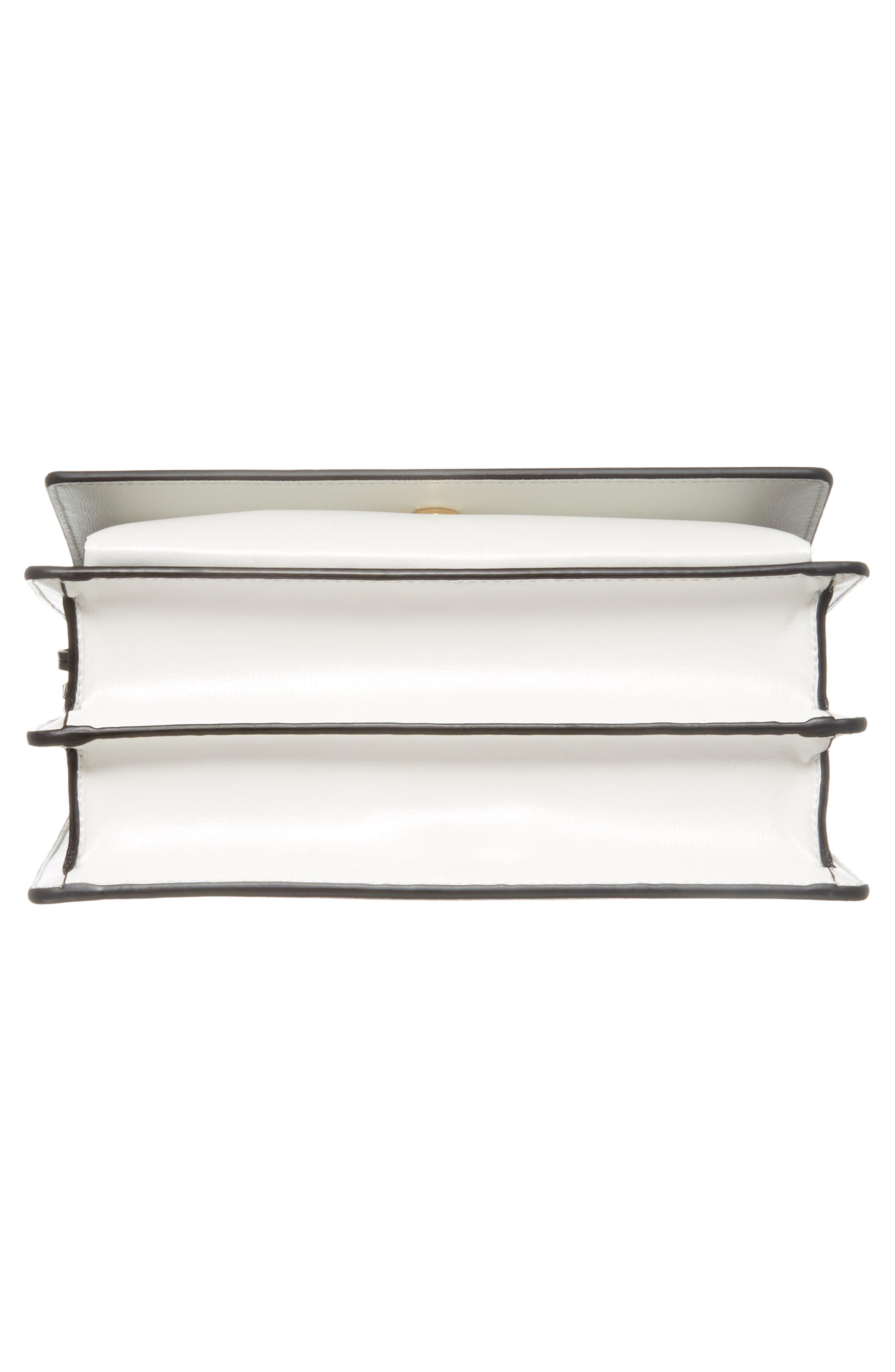 Medium Sunset Leather Shoulder Bag,                             Alternate thumbnail 6, color,                             Black/ White