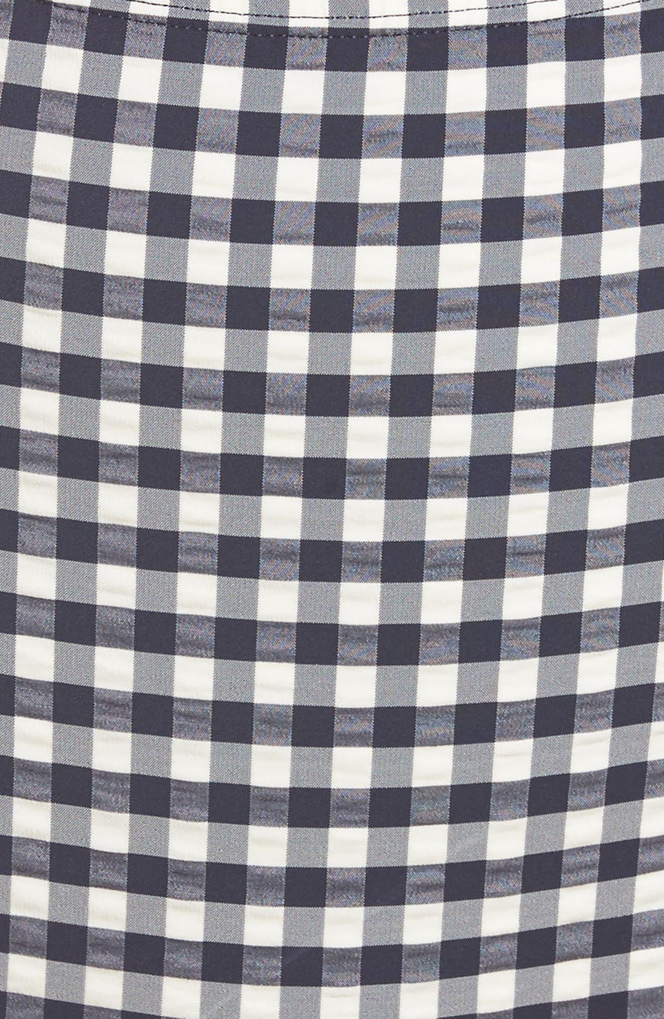 Gingham High Waist Bikini Bottoms,                             Alternate thumbnail 8, color,                             Tory Navy / White