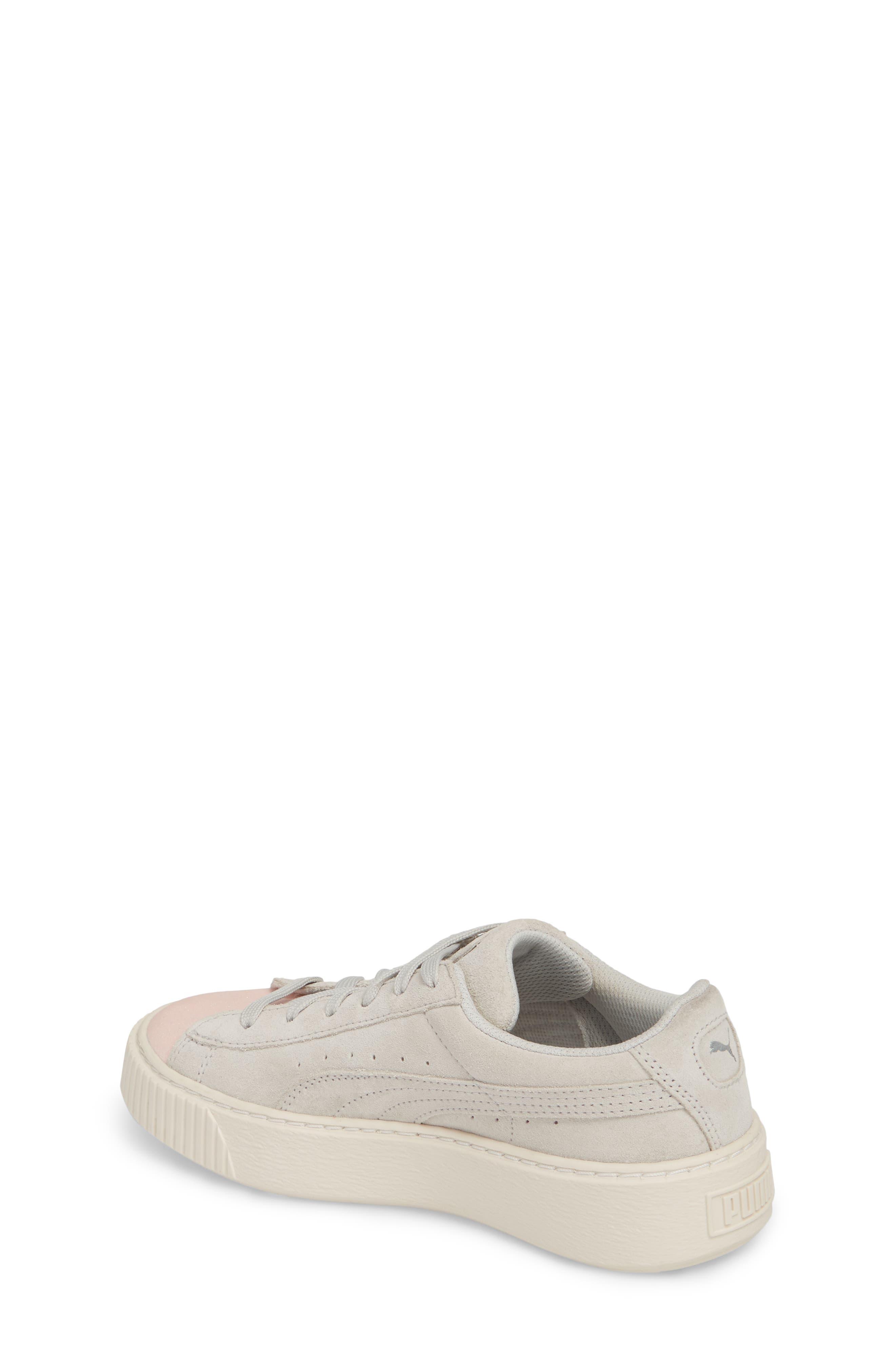 Suede Platform Glam PS Sneaker,                             Alternate thumbnail 2, color,                             Pearl/ Glacier Gray