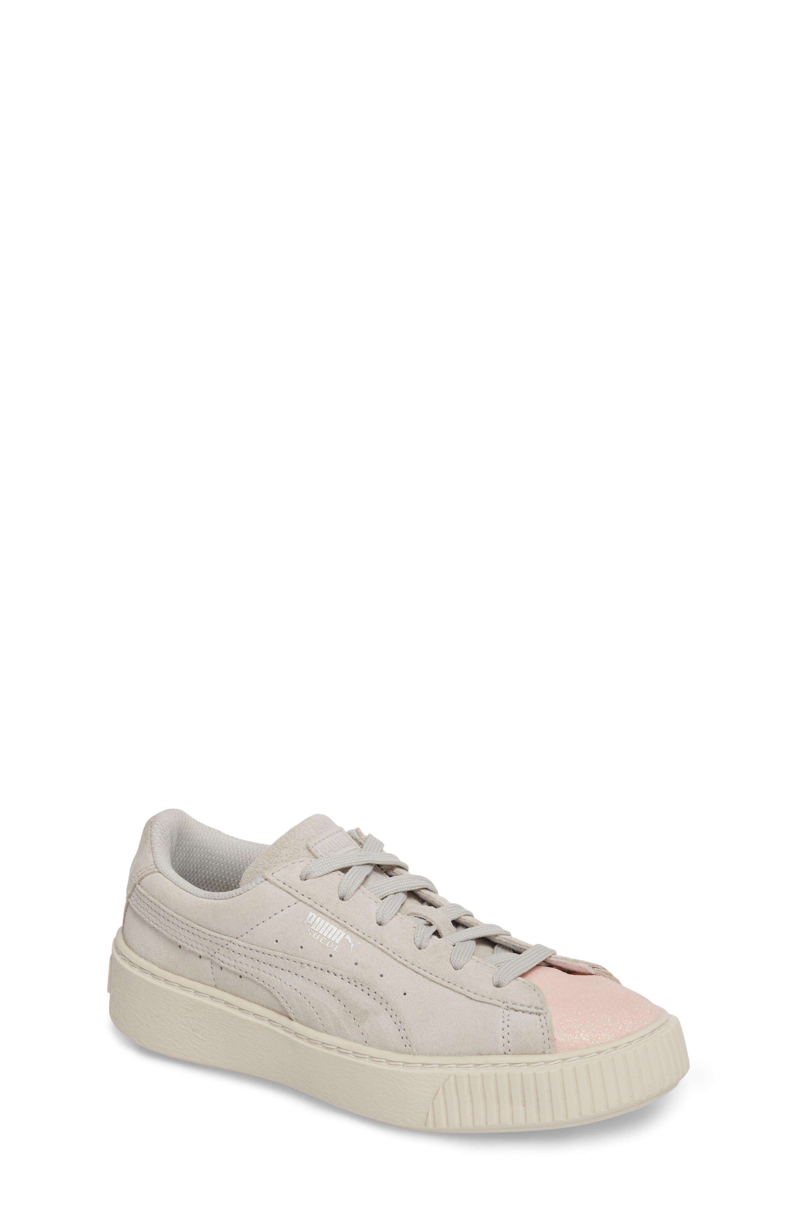 Suede Platform Glam PS Sneaker,                             Main thumbnail 1, color,                             Pearl/ Glacier Gray