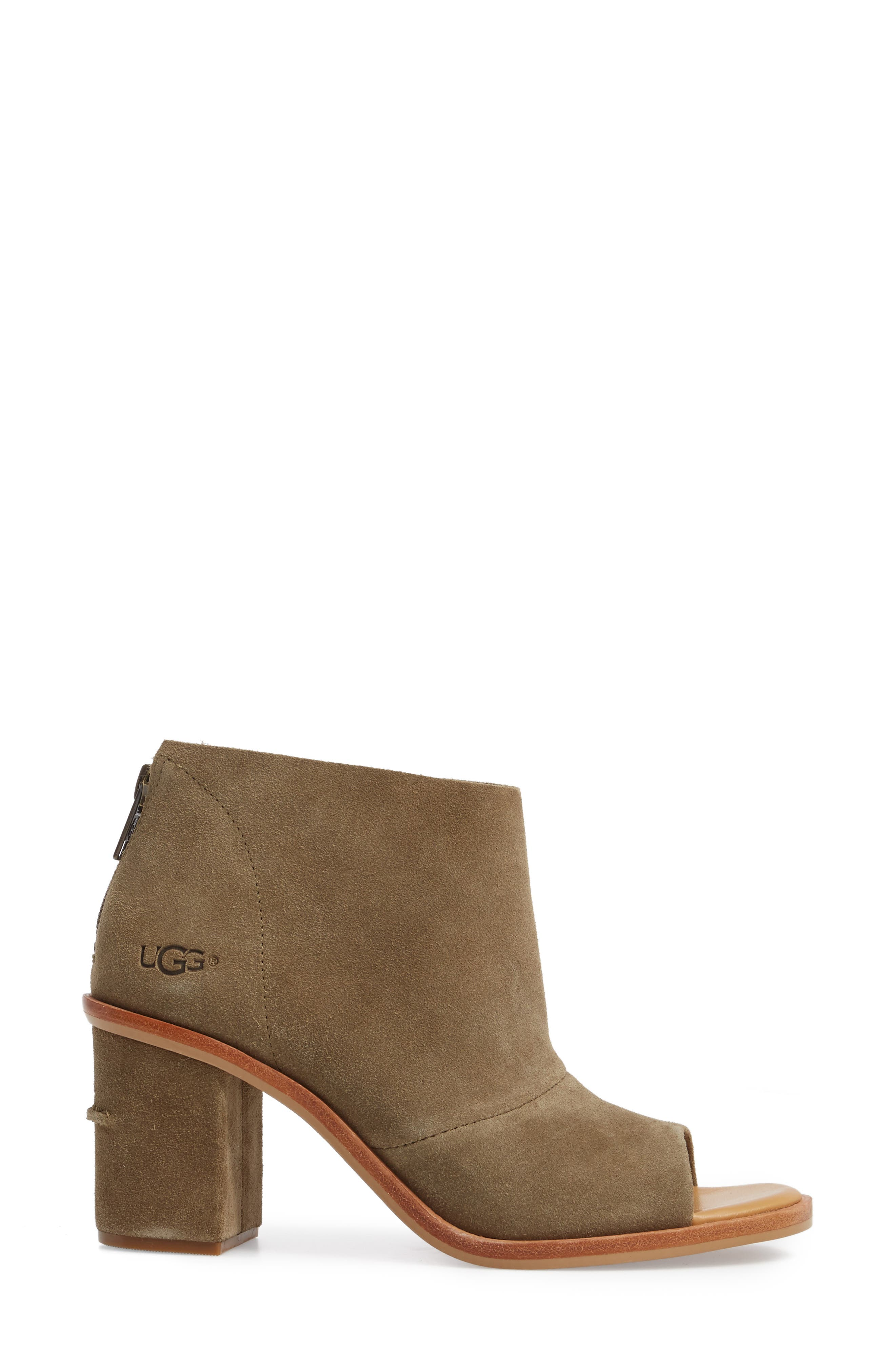 Ginger Peep Toe Bootie,                             Alternate thumbnail 3, color,                             Apple Green Suede