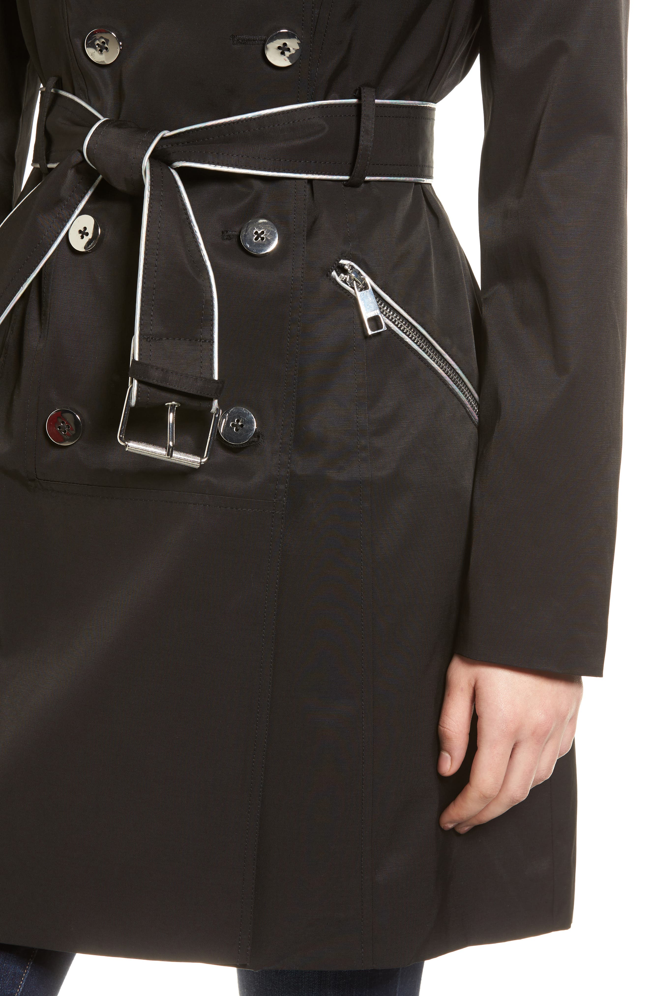 Hooded Piped Trench Coat,                             Alternate thumbnail 4, color,                             Black