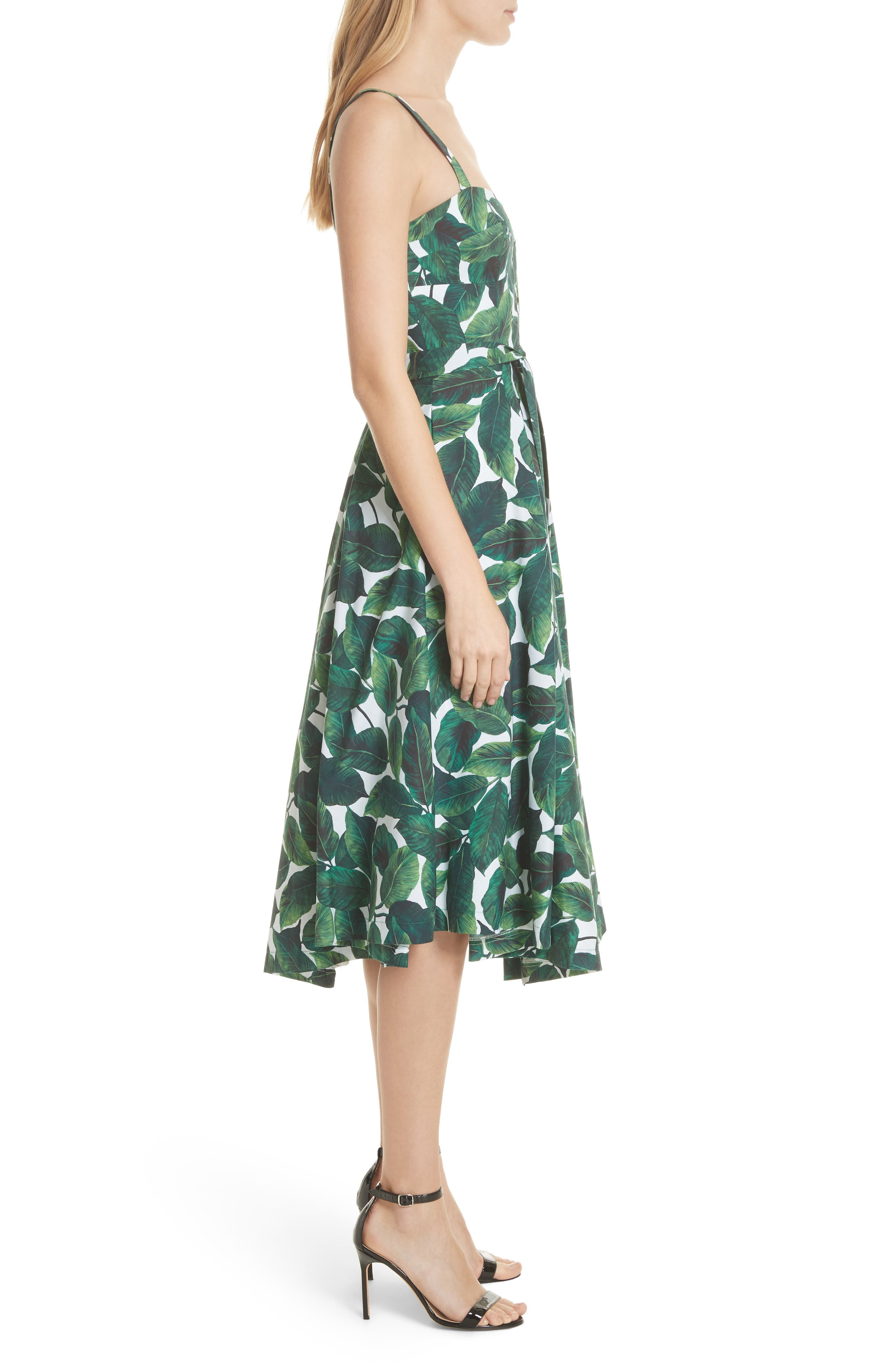 Print Poplin Midi Dress,                             Alternate thumbnail 3, color,                             Emerald