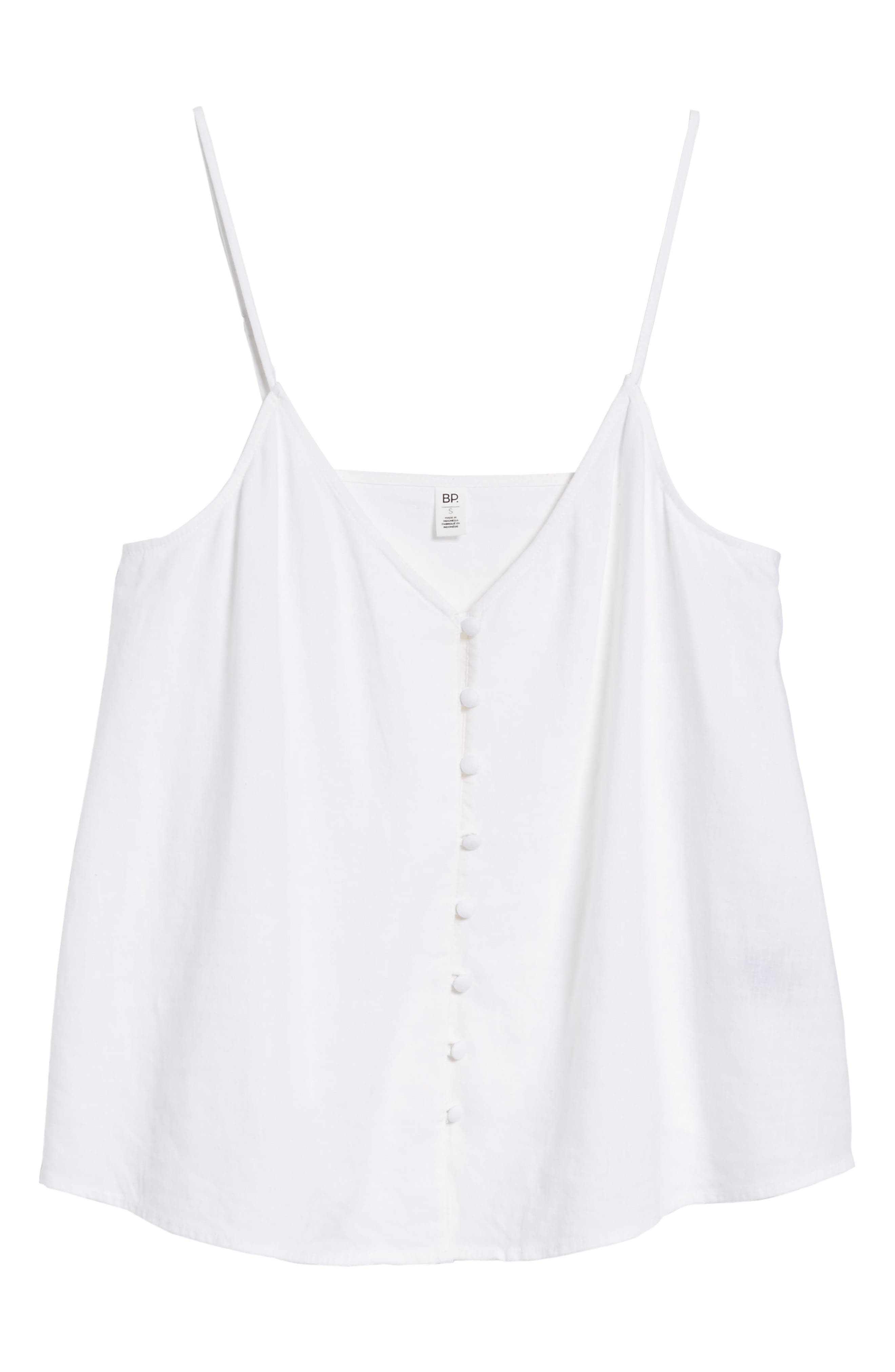 Button Front Camisole,                             Alternate thumbnail 6, color,                             White