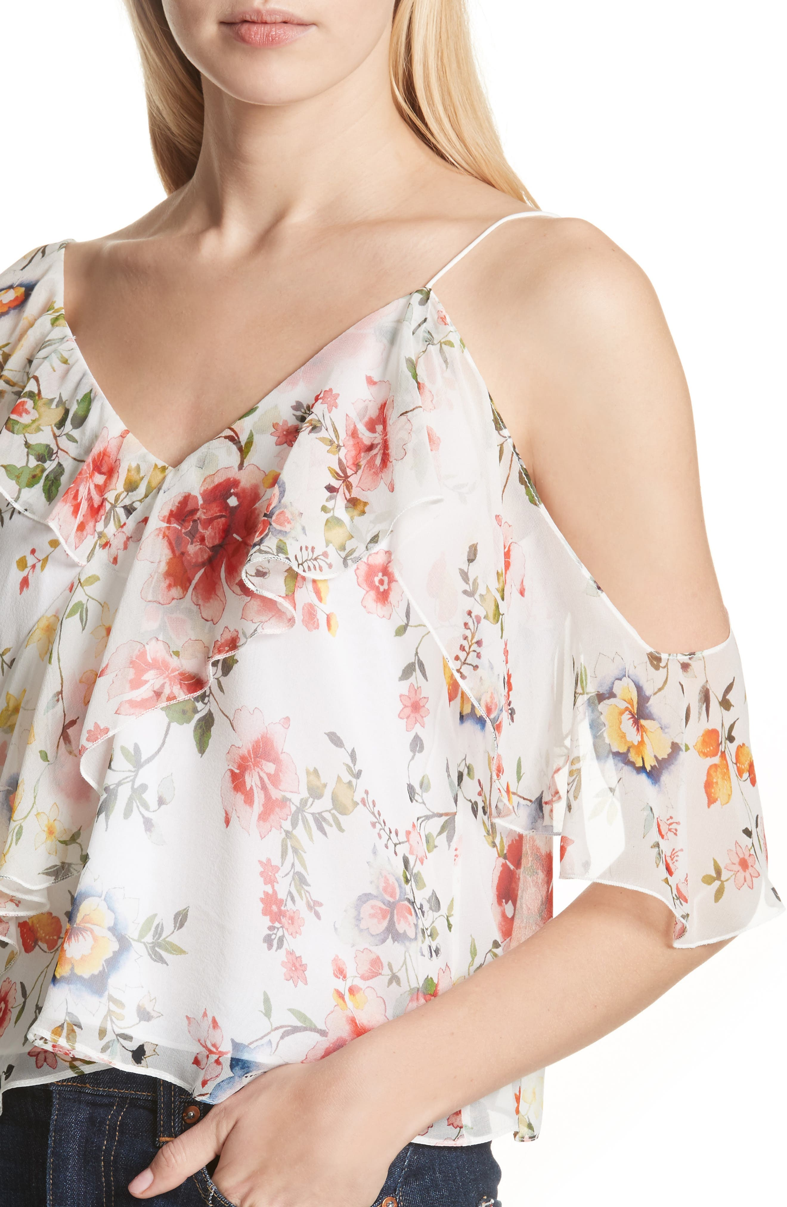 Pauline Asymmetrical Silk Tank,                             Alternate thumbnail 4, color,                             Floral Soiree-Off White