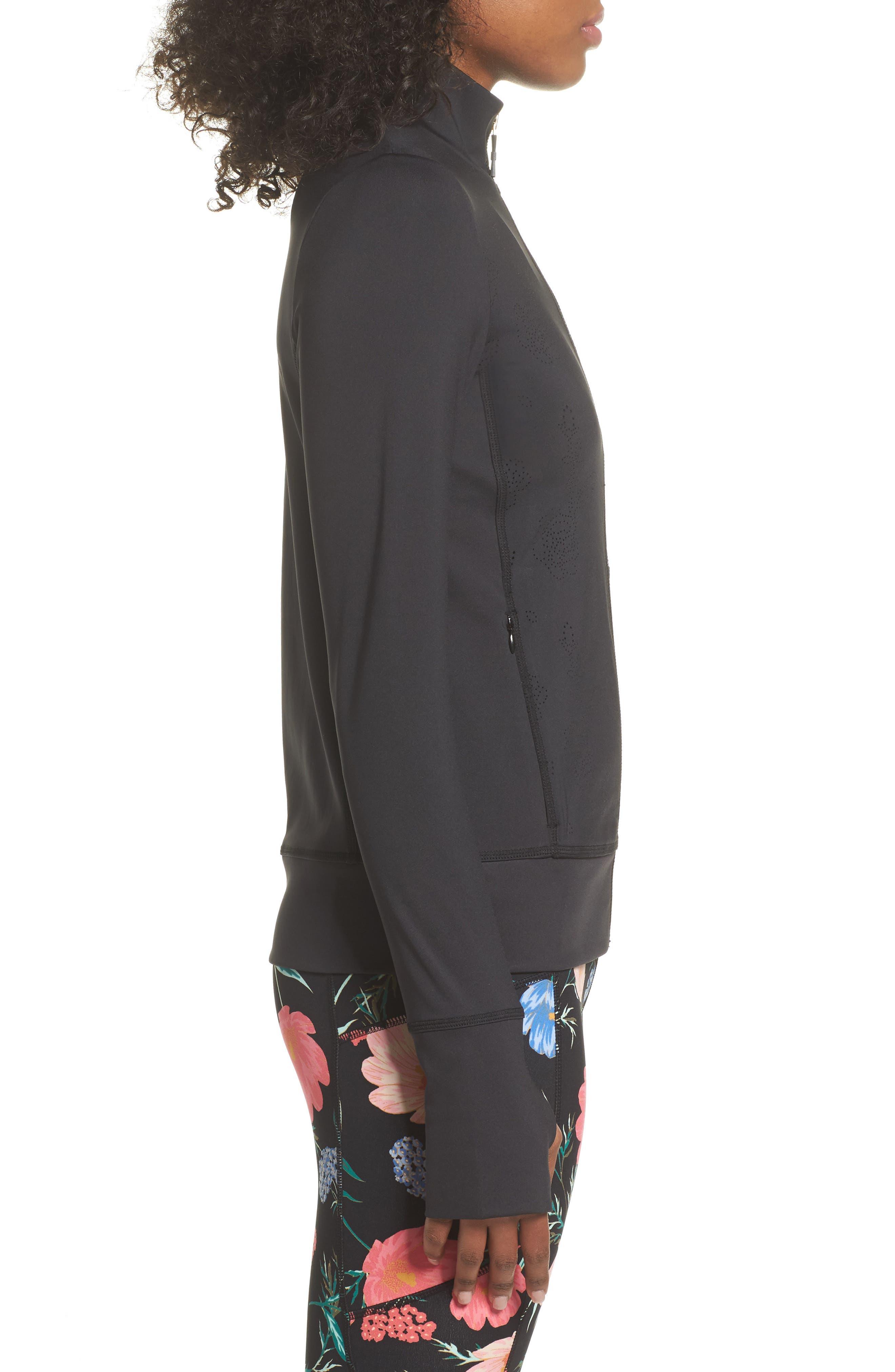 flora laser cut jacket,                             Alternate thumbnail 3, color,                             Black