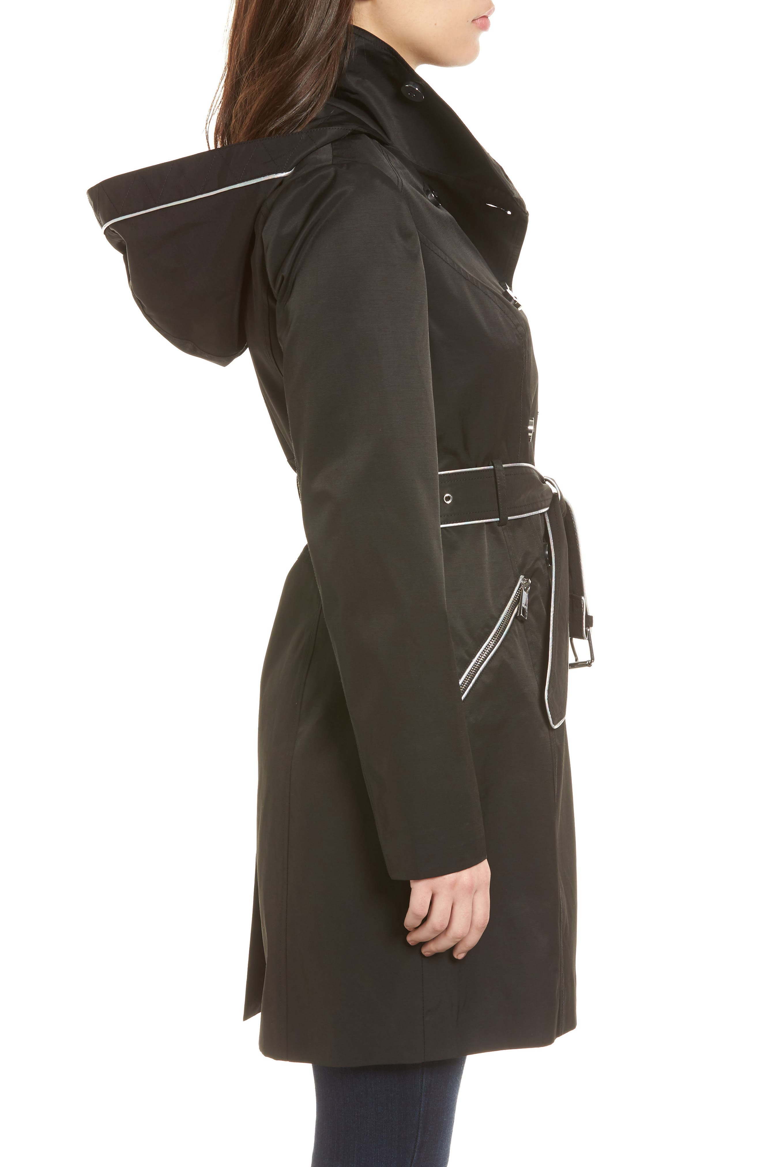Hooded Piped Trench Coat,                             Alternate thumbnail 3, color,                             Black