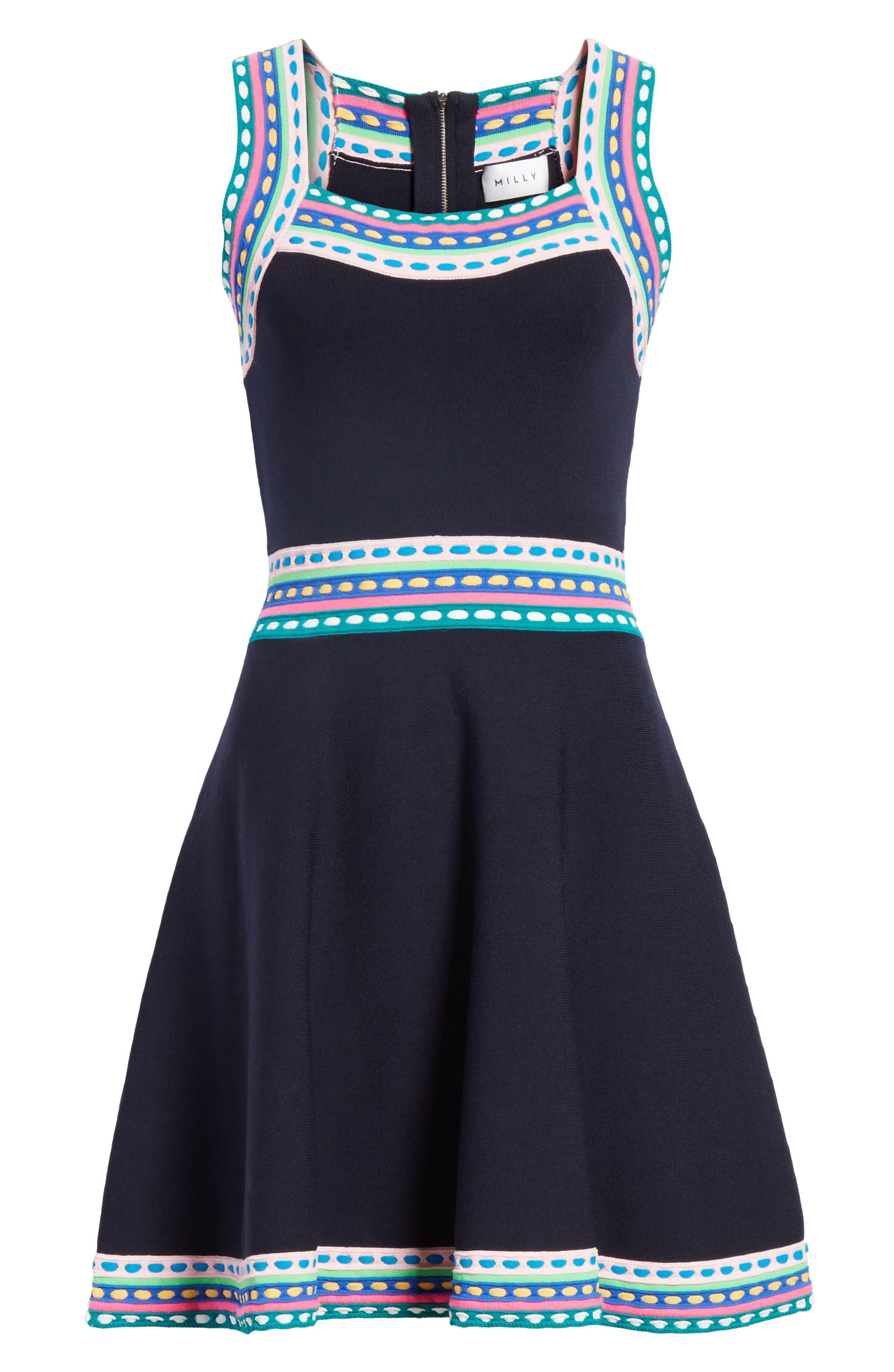 Woven Trim Fit & Flare Dress,                             Alternate thumbnail 6, color,                             Navy Multi