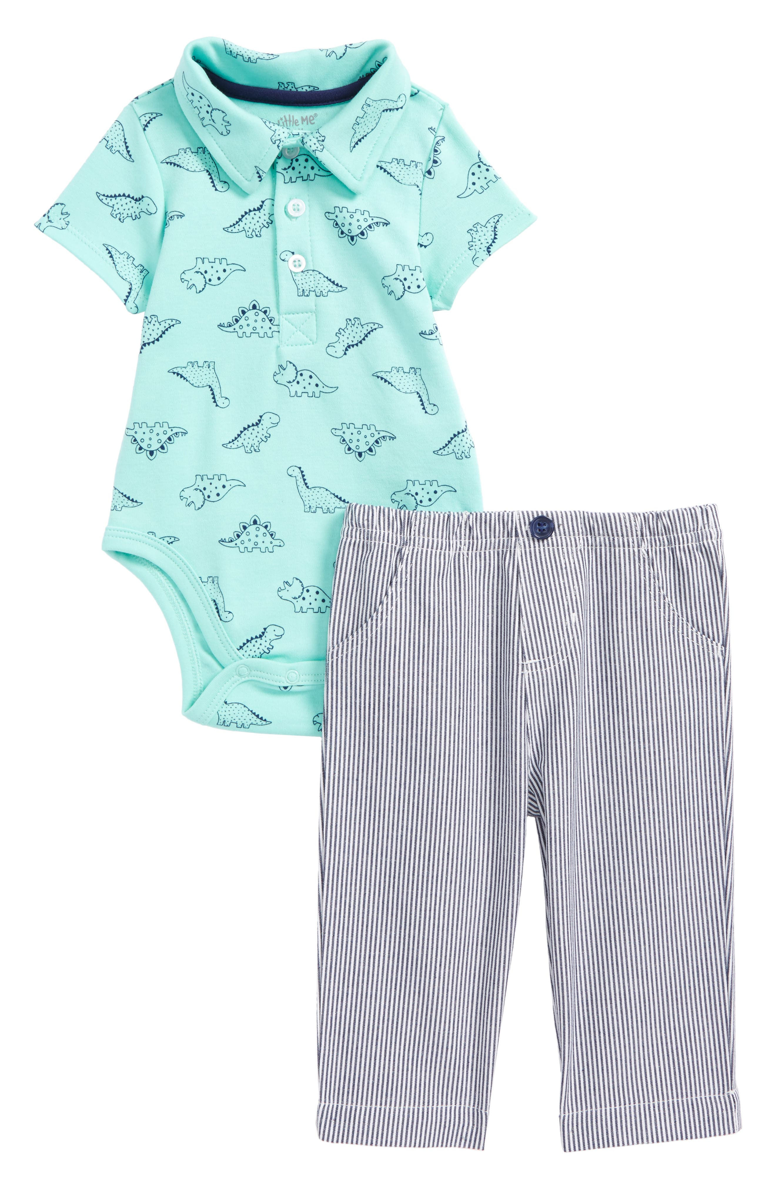 Dino Polo Bodysuit & Pants Set,                             Main thumbnail 1, color,                             Navy