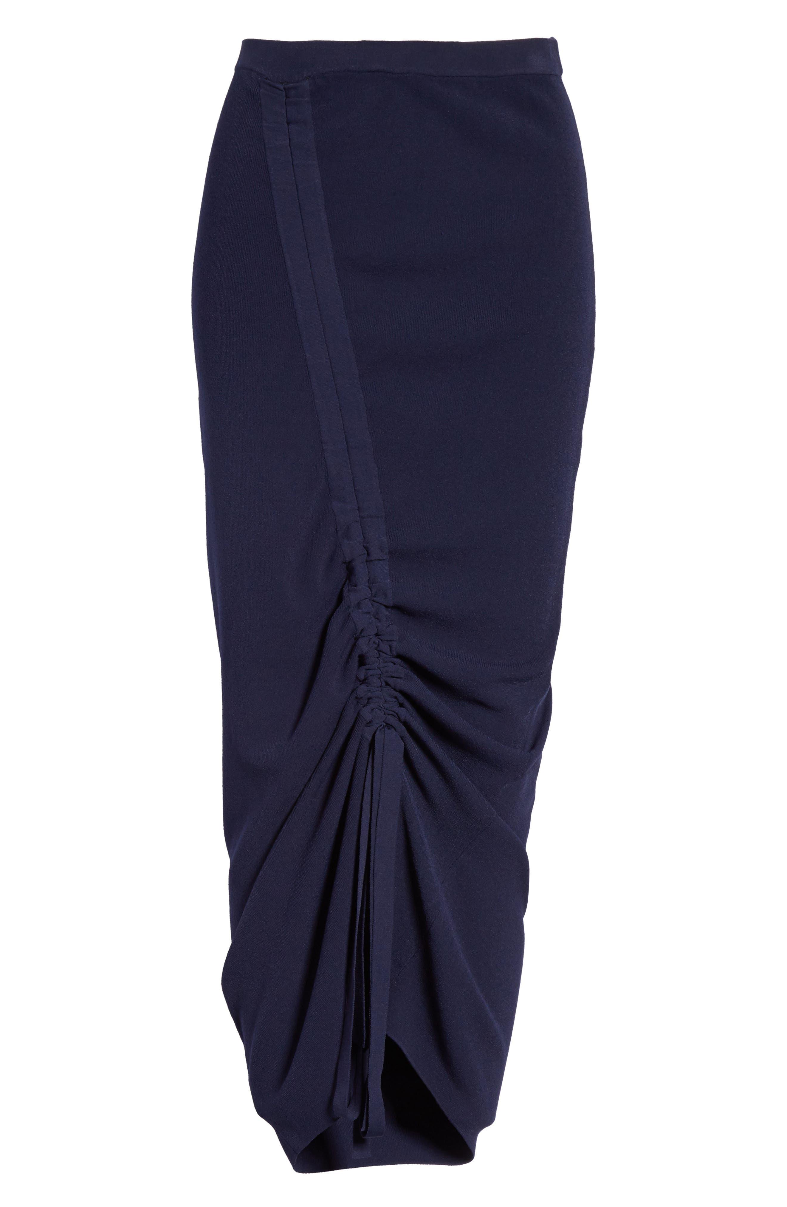 Ruched Midi Skirt,                             Alternate thumbnail 6, color,                             Navy