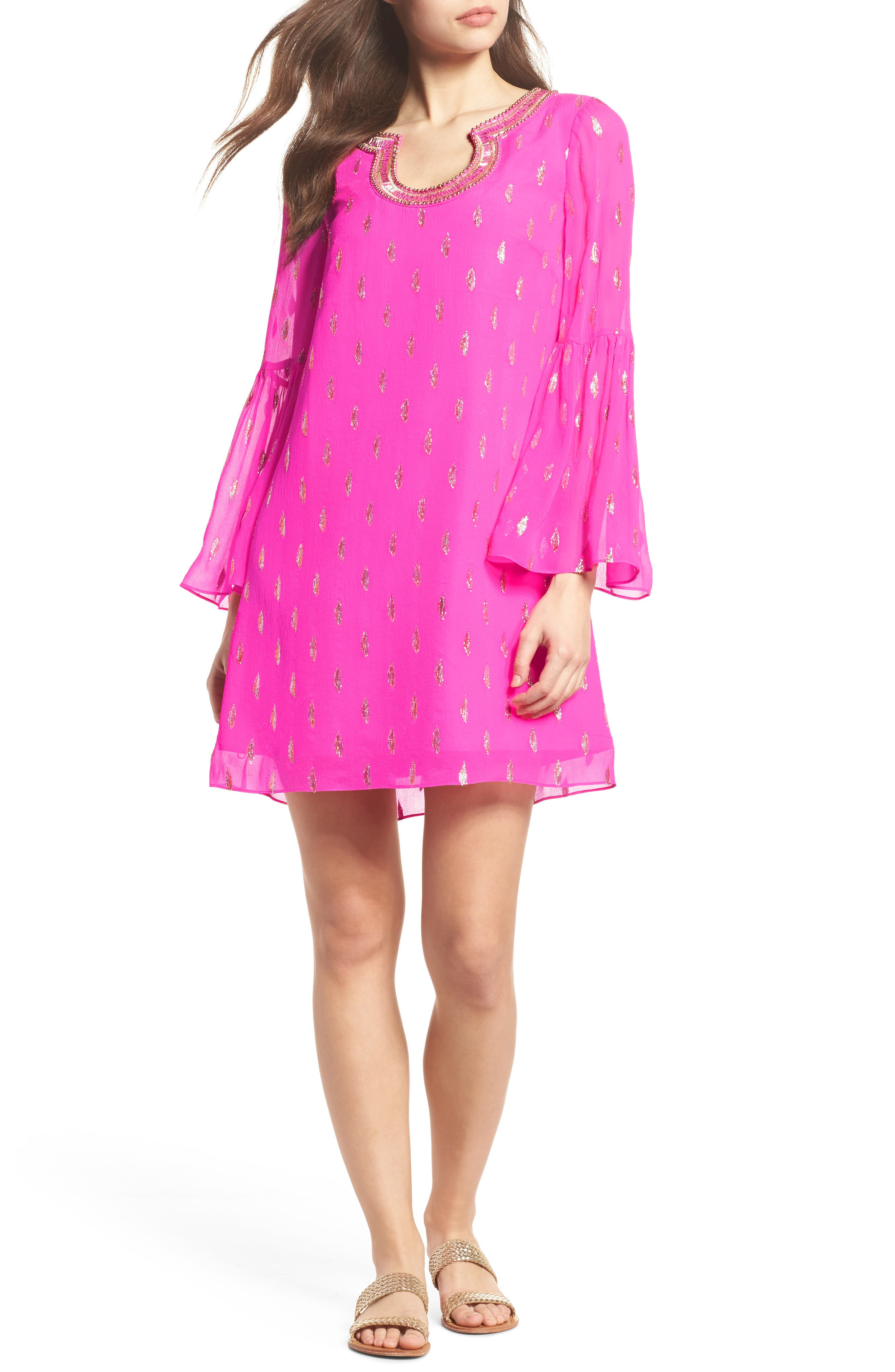 Amory Silk Tunic Dress,                         Main,                         color, Raz Berry Diamond Metallic