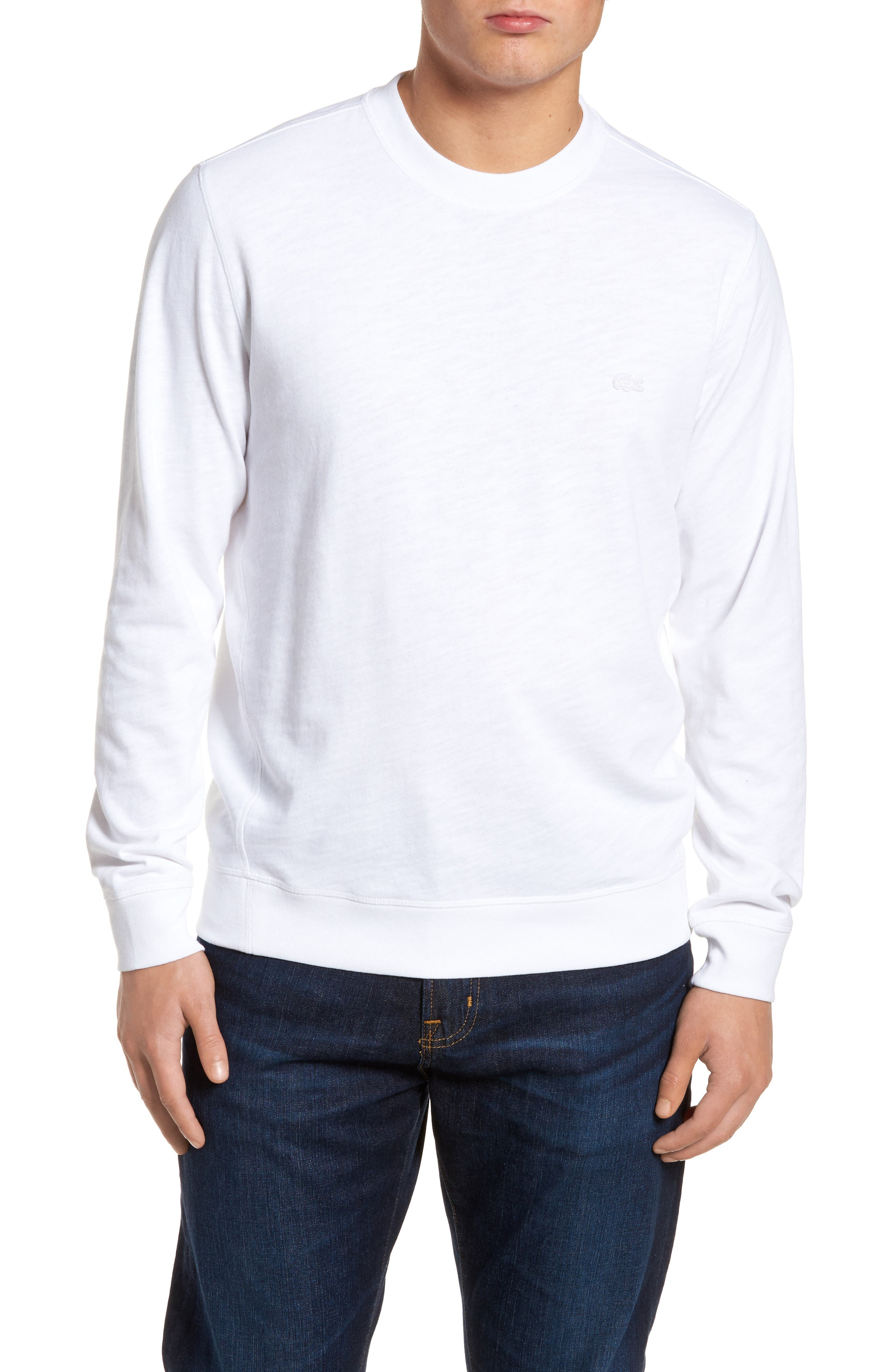 Slim Fit French Terry Sweatshirt,                             Main thumbnail 1, color,                             White