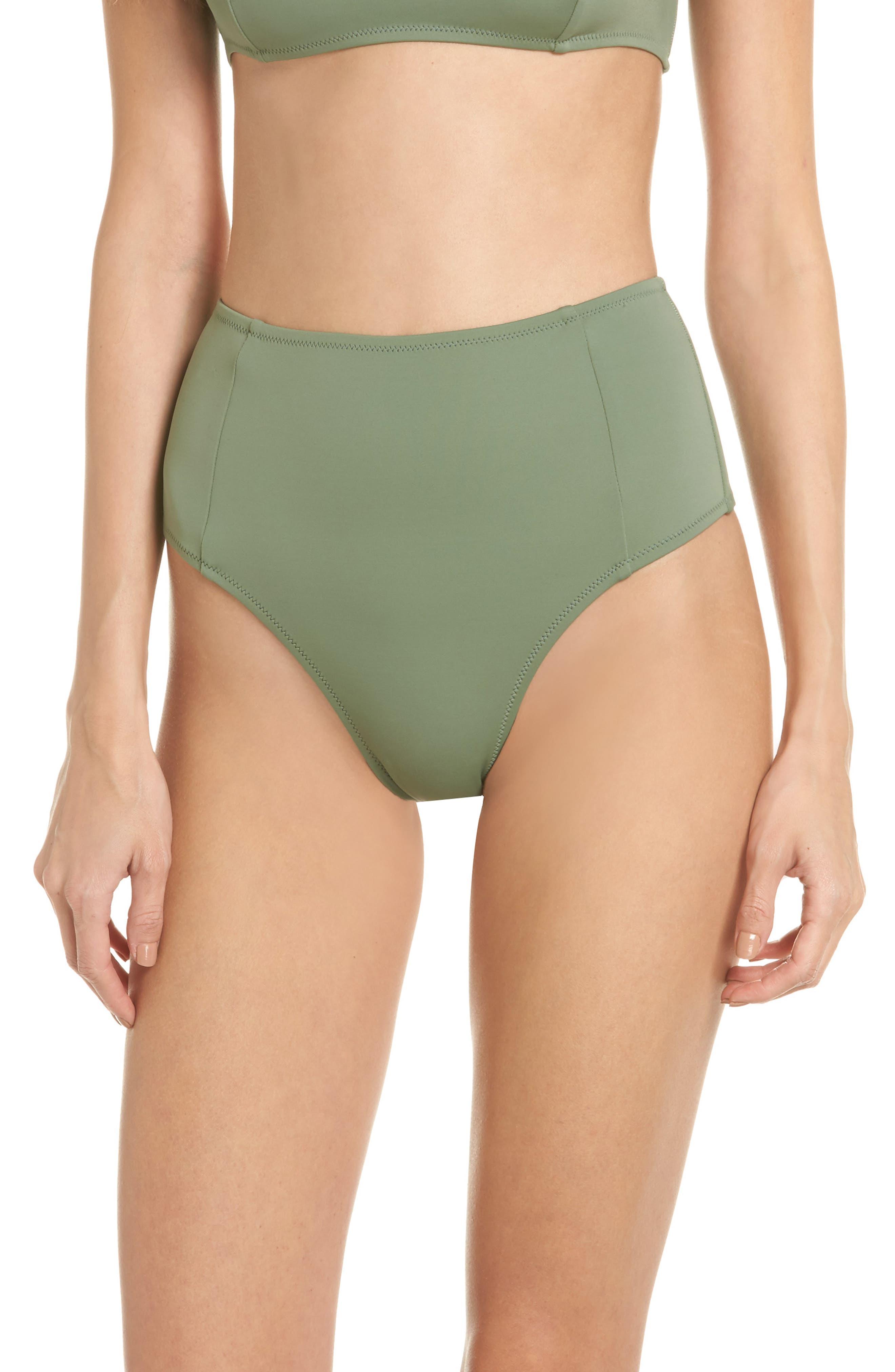The Jessica High Waist Bikini Bottoms,                             Main thumbnail 1, color,                             Green