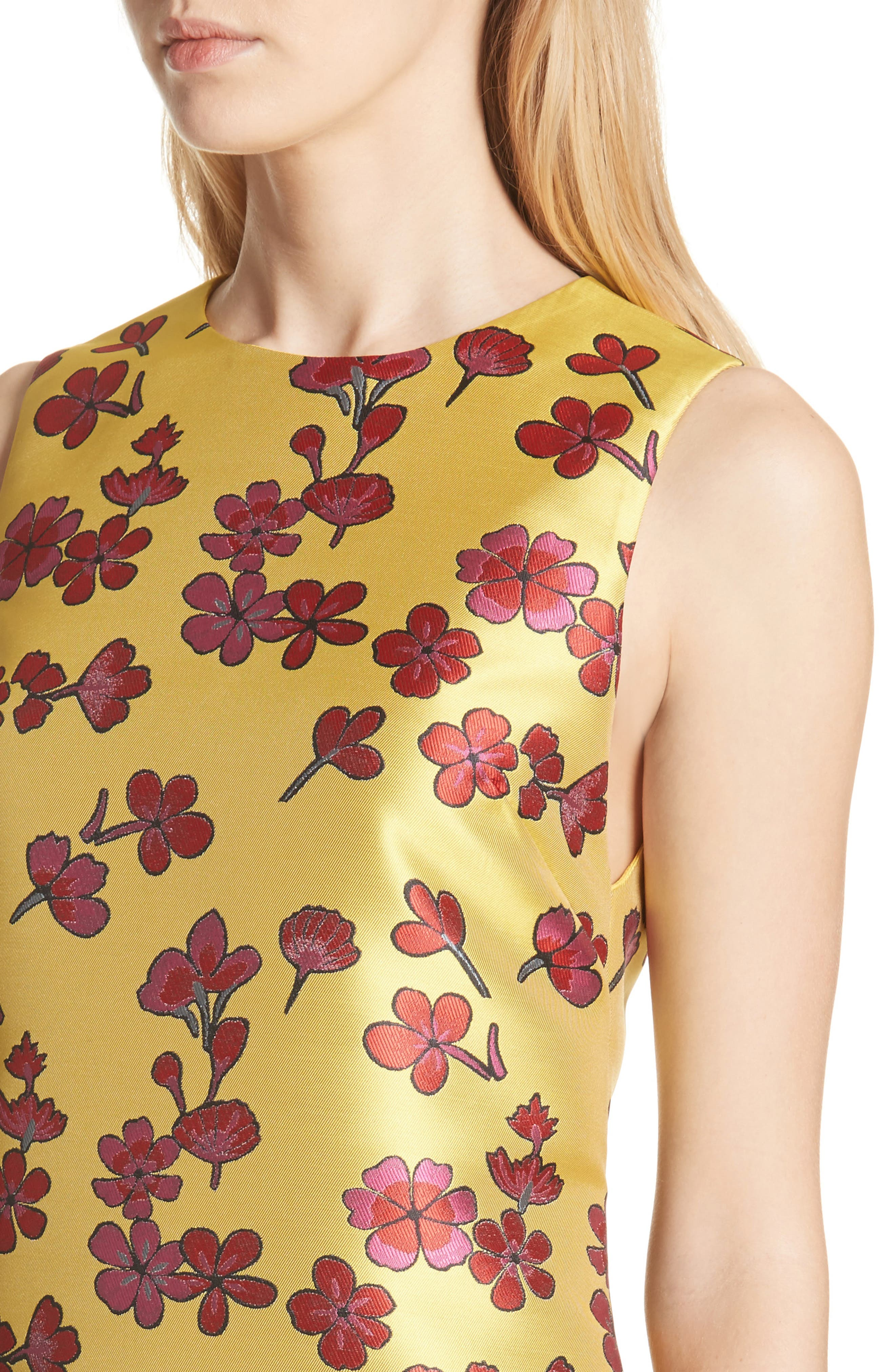 Coley Floral A-Line Shift Dress,                             Alternate thumbnail 4, color,                             Sunflower/ Poppy