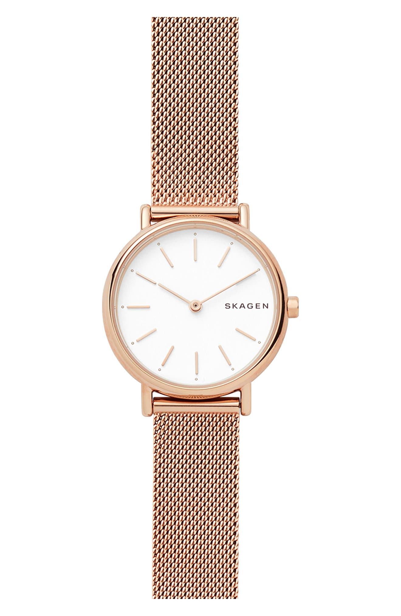 Signatur Slim Mesh Strap Watch, 30mm,                         Main,                         color, Rose Gold/ White/ Rose Gold