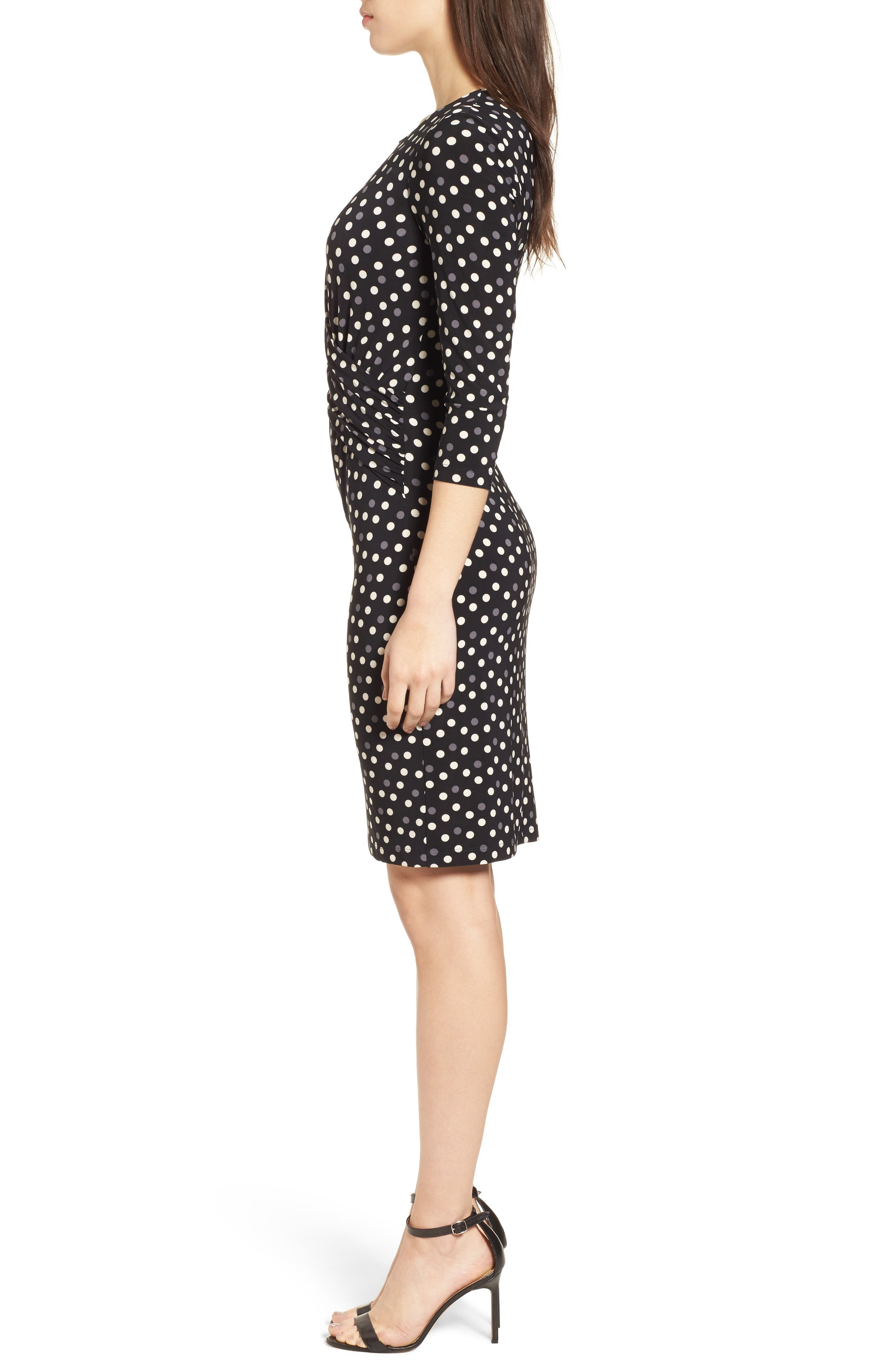 Splashy Dot Twist Waist Dress,                             Alternate thumbnail 3, color,                             Black/ Parchment Combo