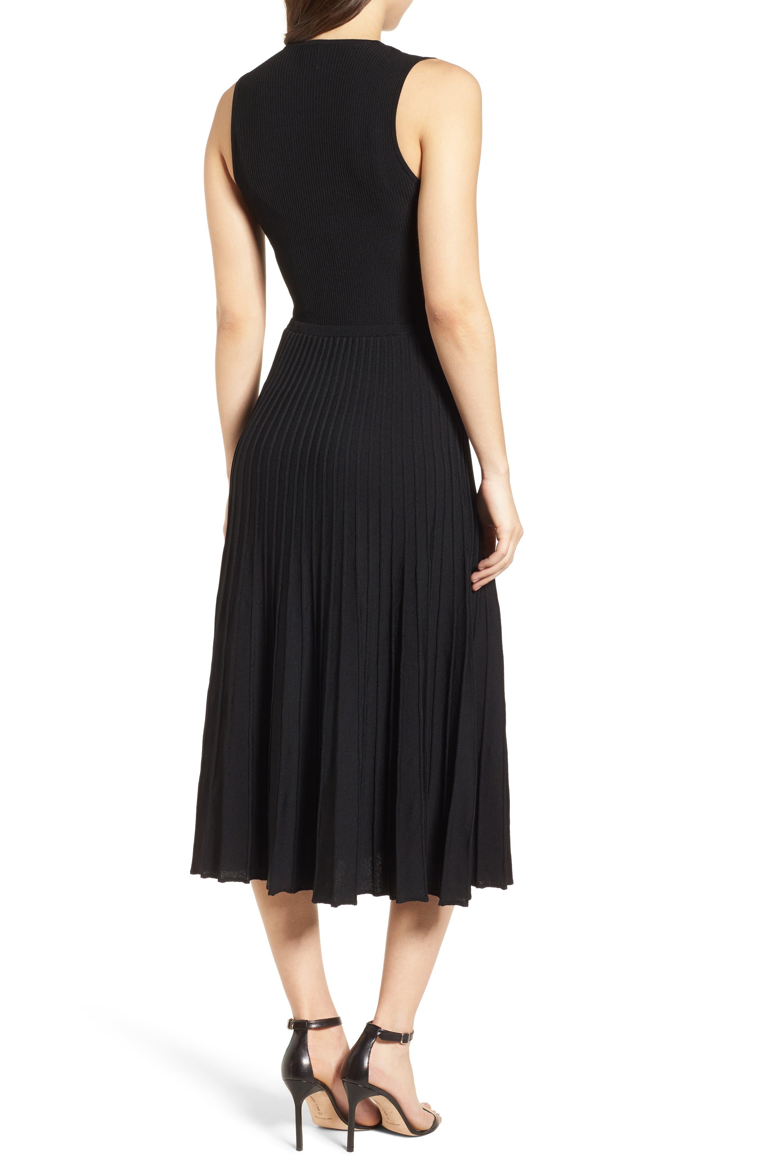 New York Pleated Sweater Midi Dress,                             Alternate thumbnail 2, color,                             Black