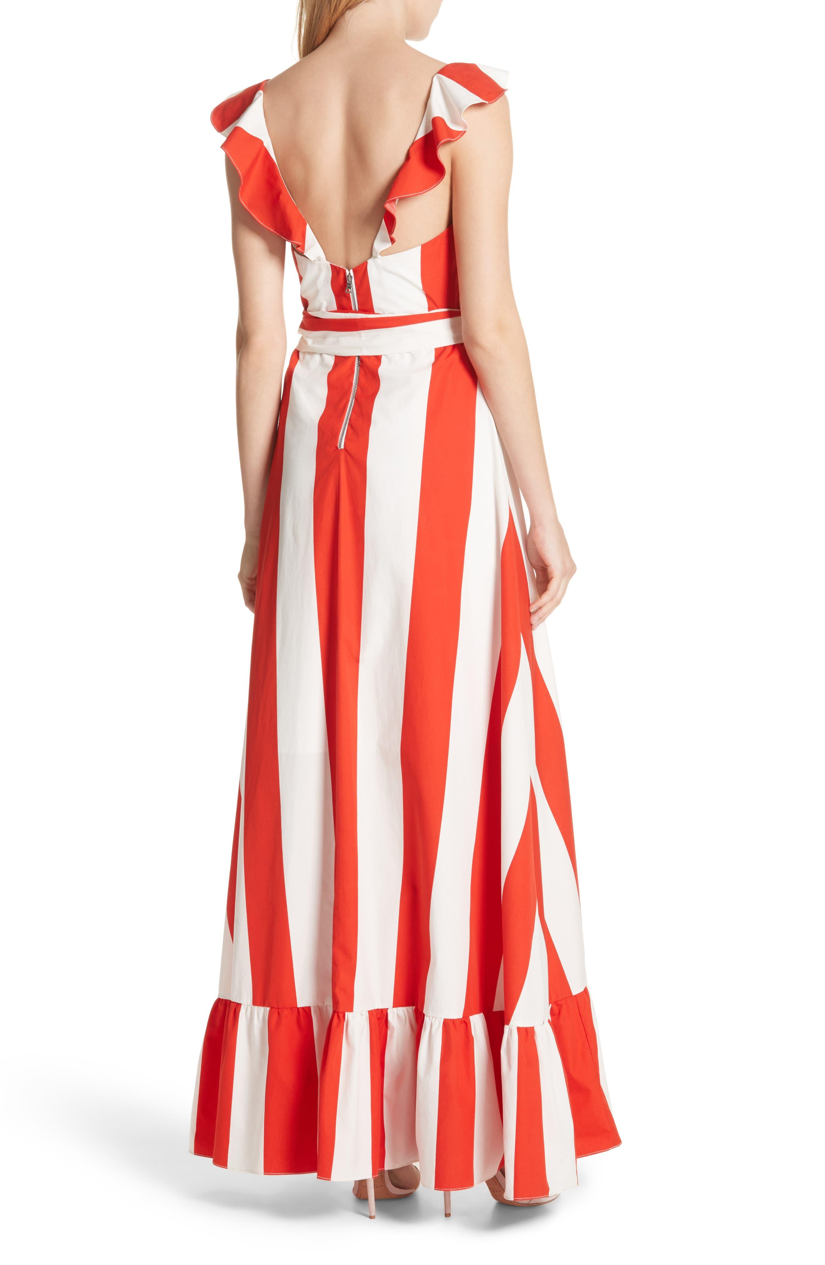 Fernanda Stripe Cotton Maxi Dress,                             Alternate thumbnail 2, color,                             Sixties Stripe- Poppy