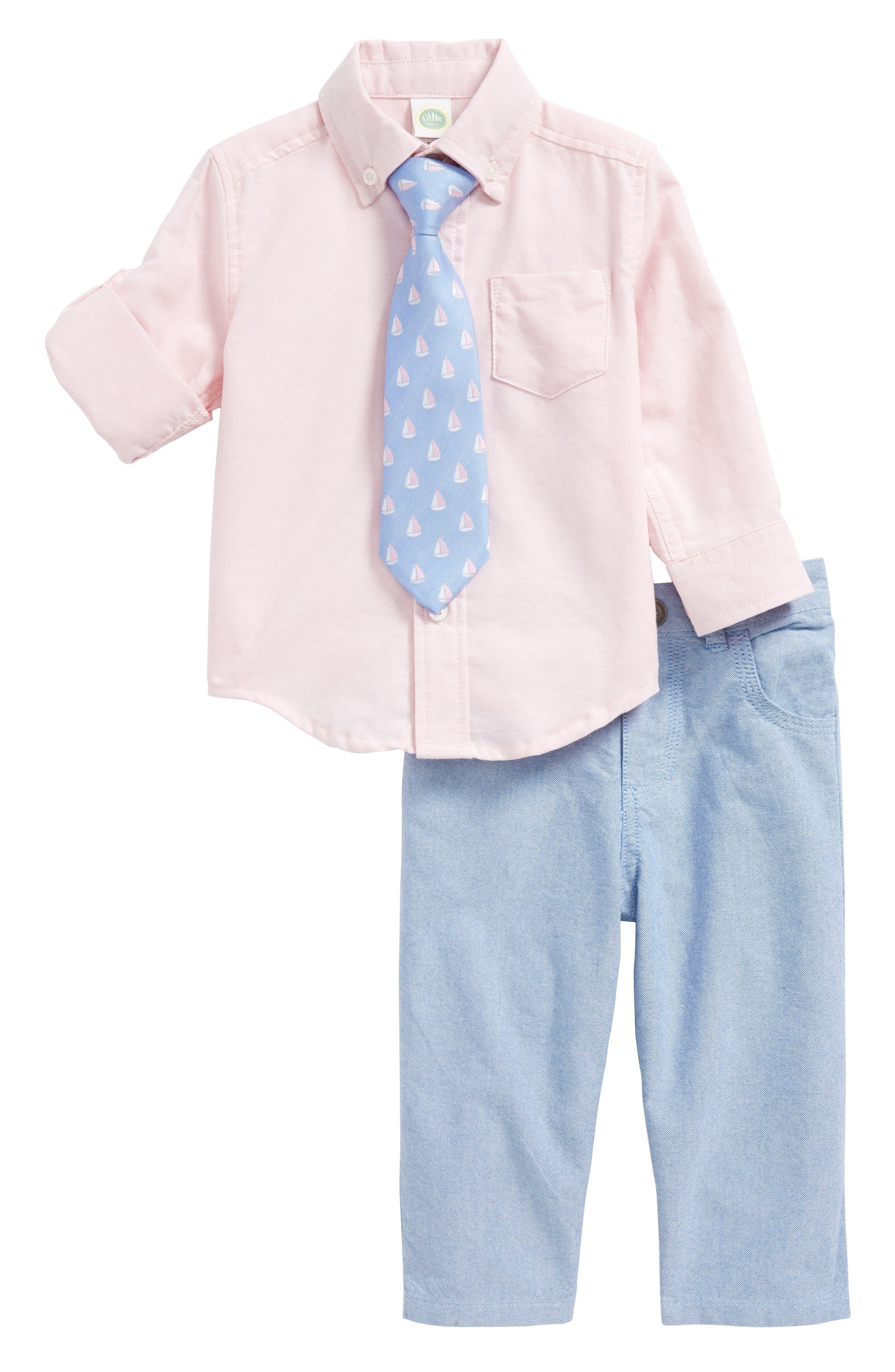 Little Me Oxford Shirt, Pants & Tie Set (Baby Boys)