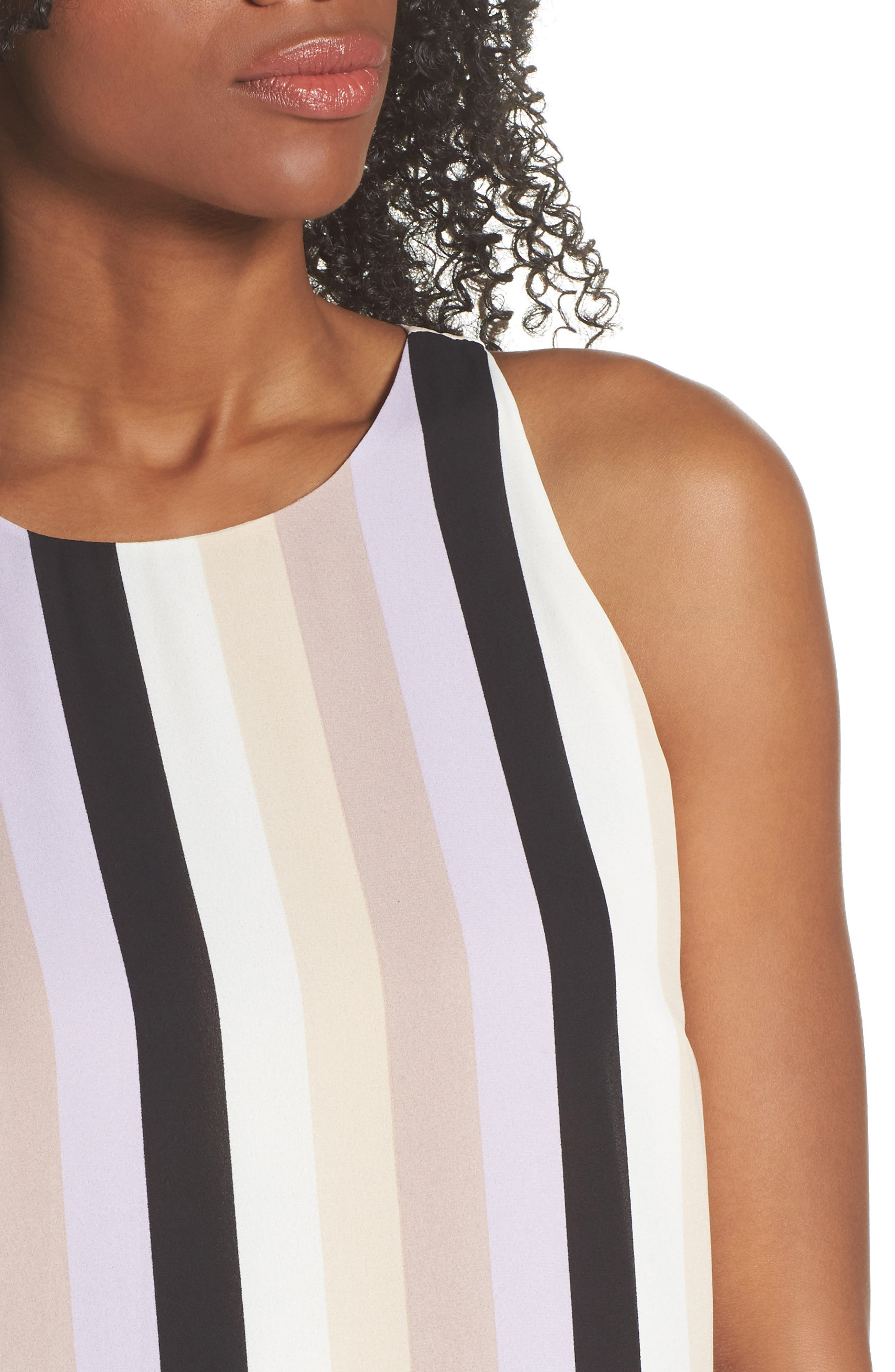 Stripe A-Line Dress,                             Alternate thumbnail 4, color,                             Orchid Combo