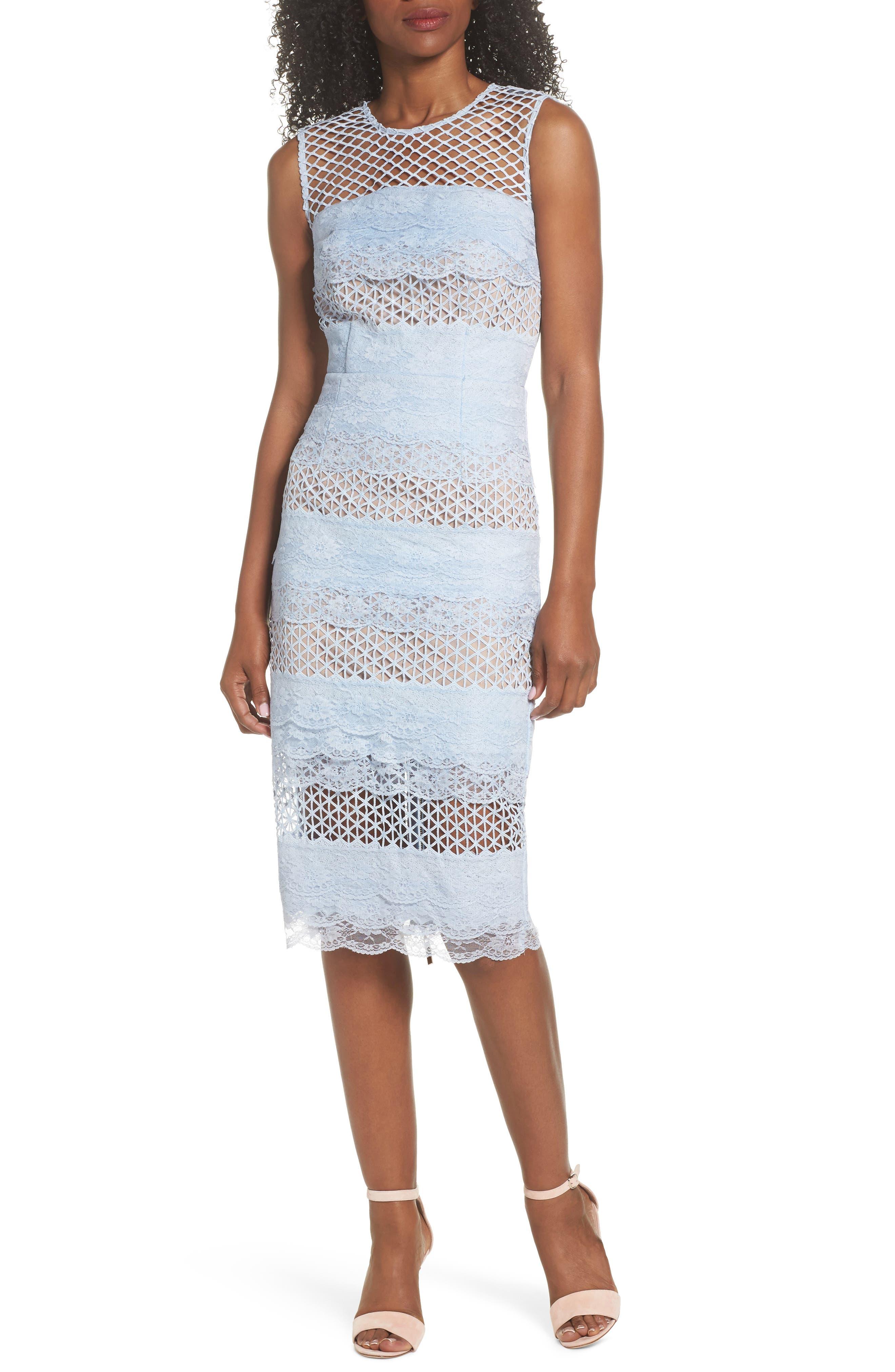 Sienna Lace Panel Sheath Dress,                         Main,                         color, Sky