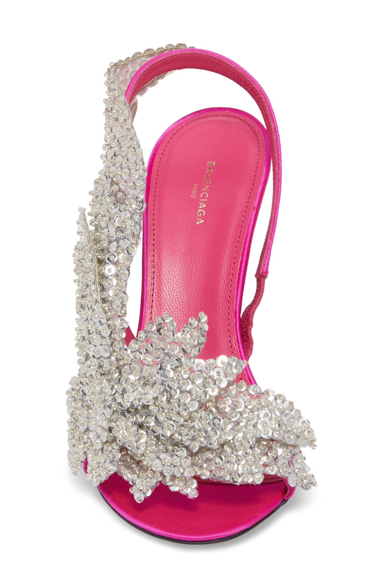 Embellished Slingback Sandal,                             Alternate thumbnail 4, color,                             Rose Fuchsia/ Crystal