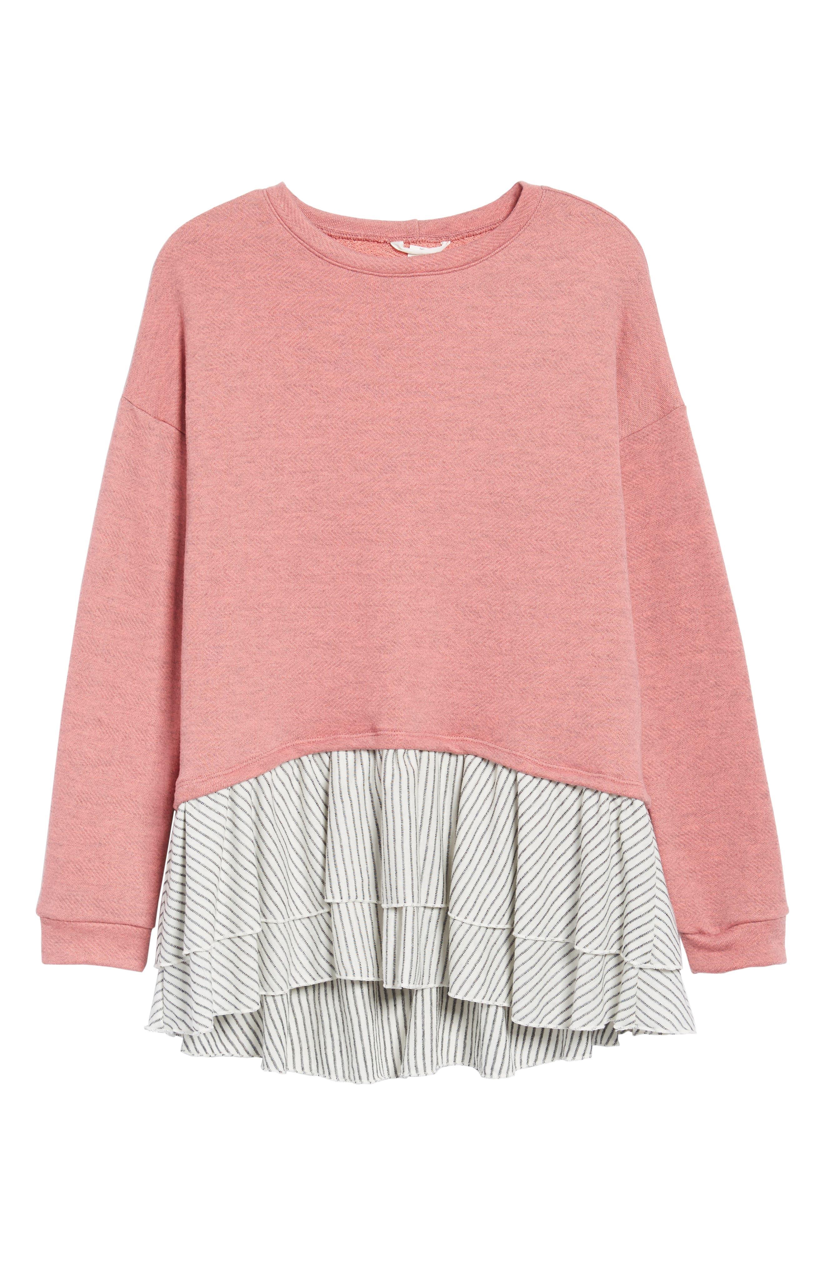 Caslon® Double Layer Sweatshirt (Regular & Petite)