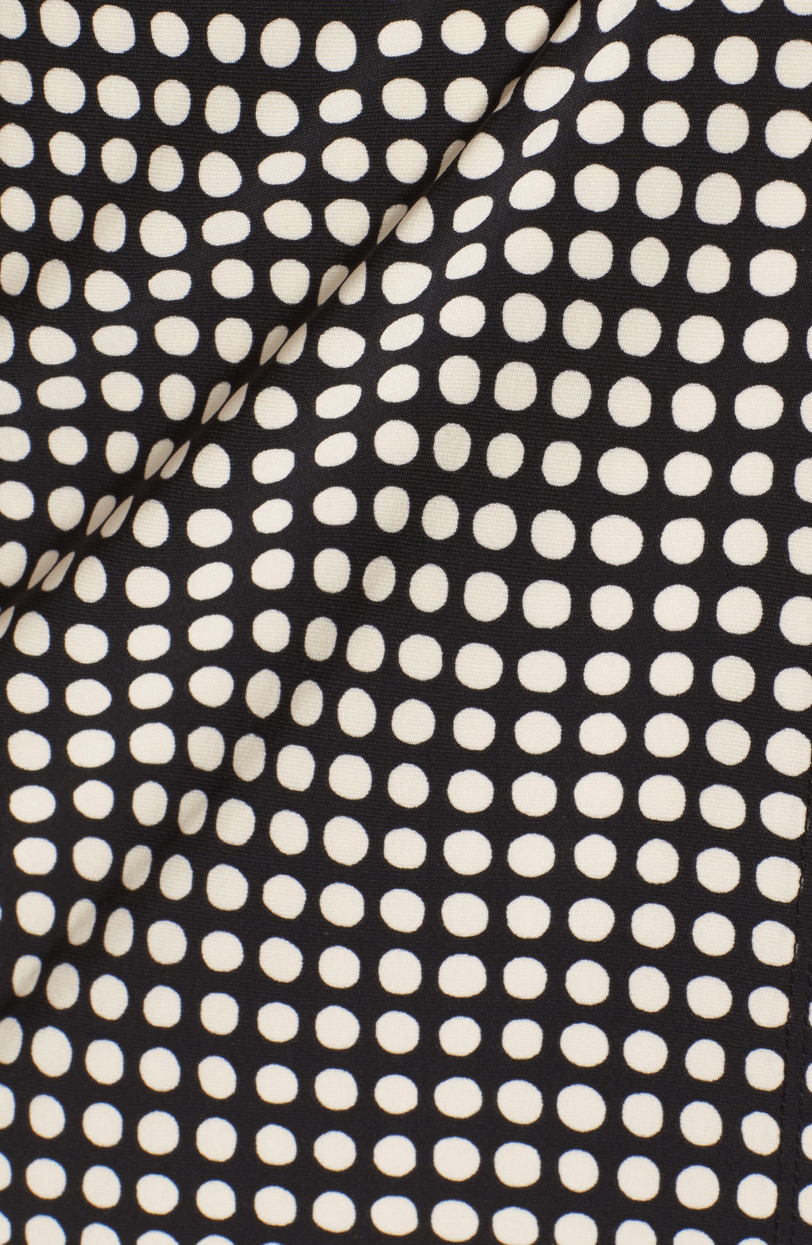 New York Pearly Dot Classic Wrap Dress,                             Alternate thumbnail 5, color,                             Black/ Parchment