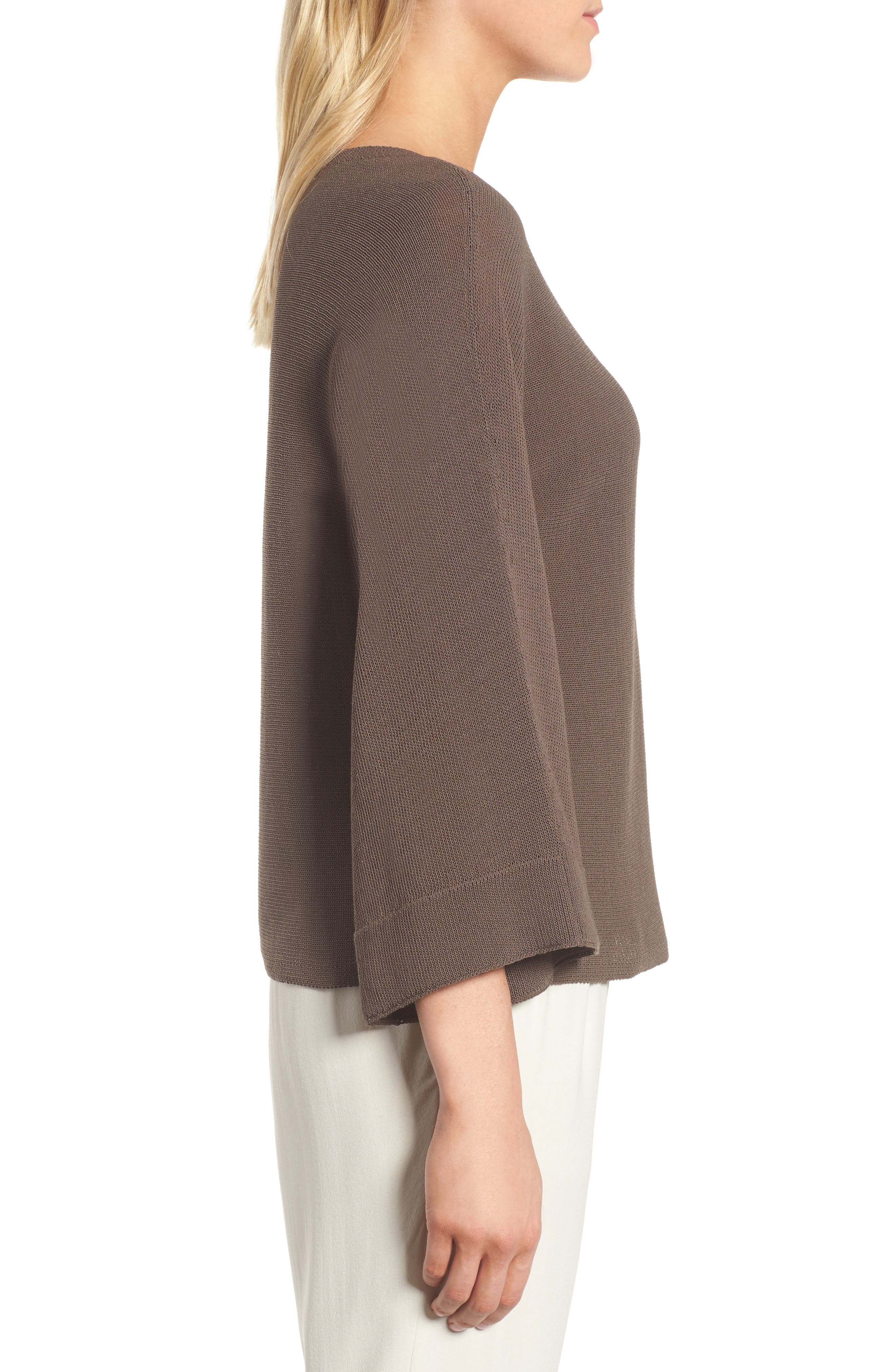 Organic Cotton Blend Sweater,                             Alternate thumbnail 3, color,                             Rye
