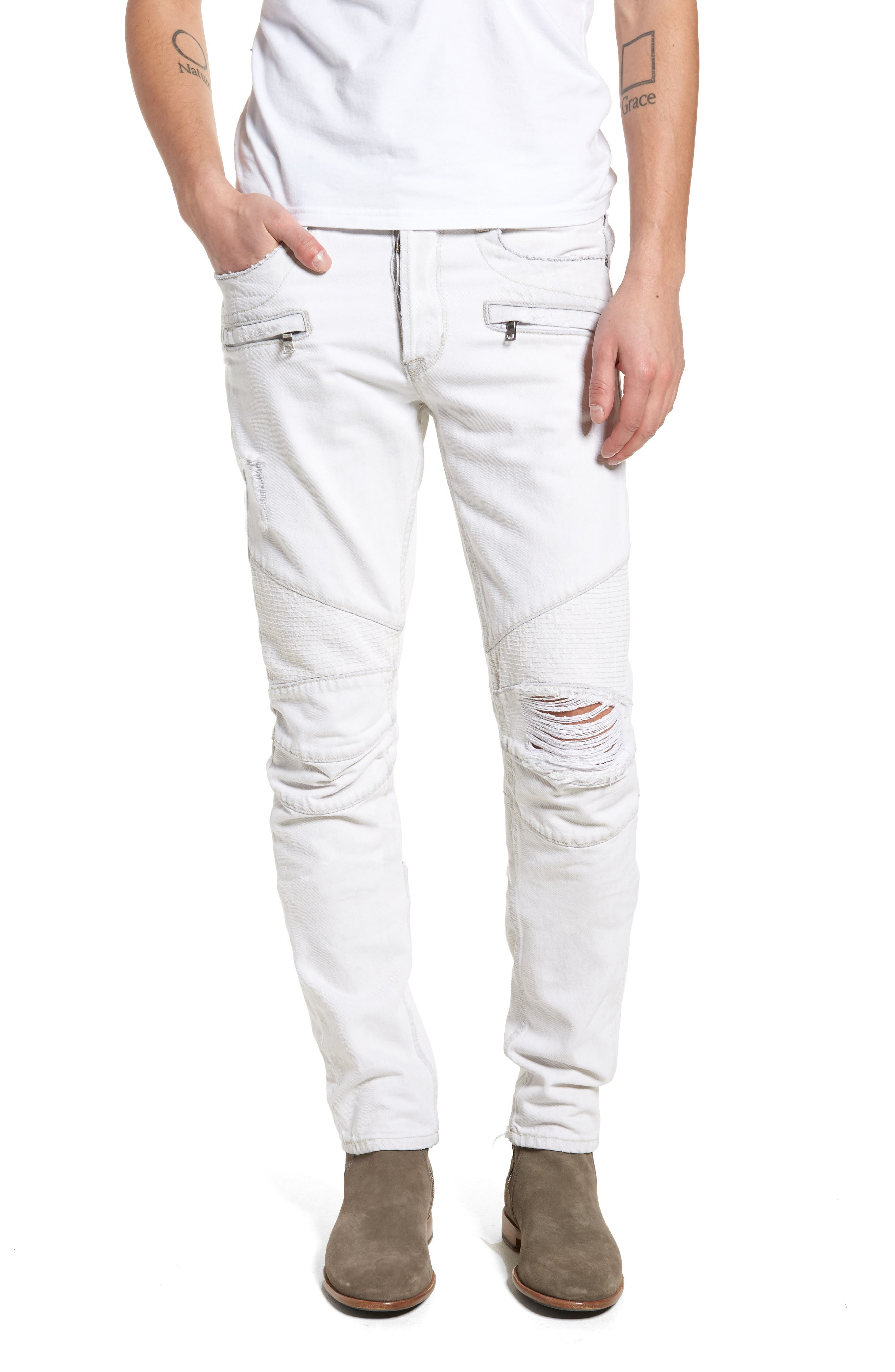 Blinder Biker Skinny Fit Moto Jeans,                             Main thumbnail 1, color,                             Extracted White