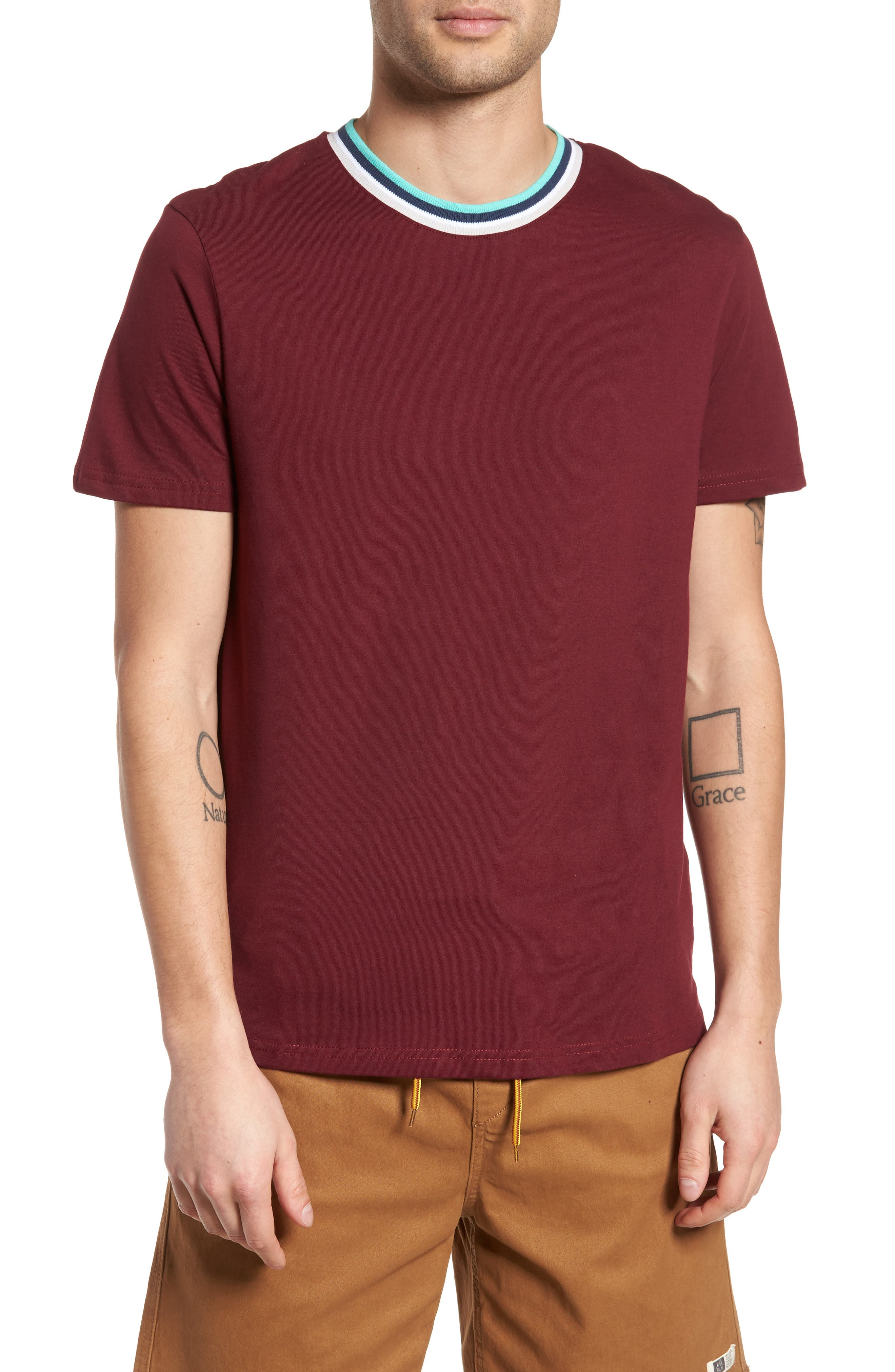 Stripe Tipped Ringer T-Shirt,                         Main,                         color, Burgundy