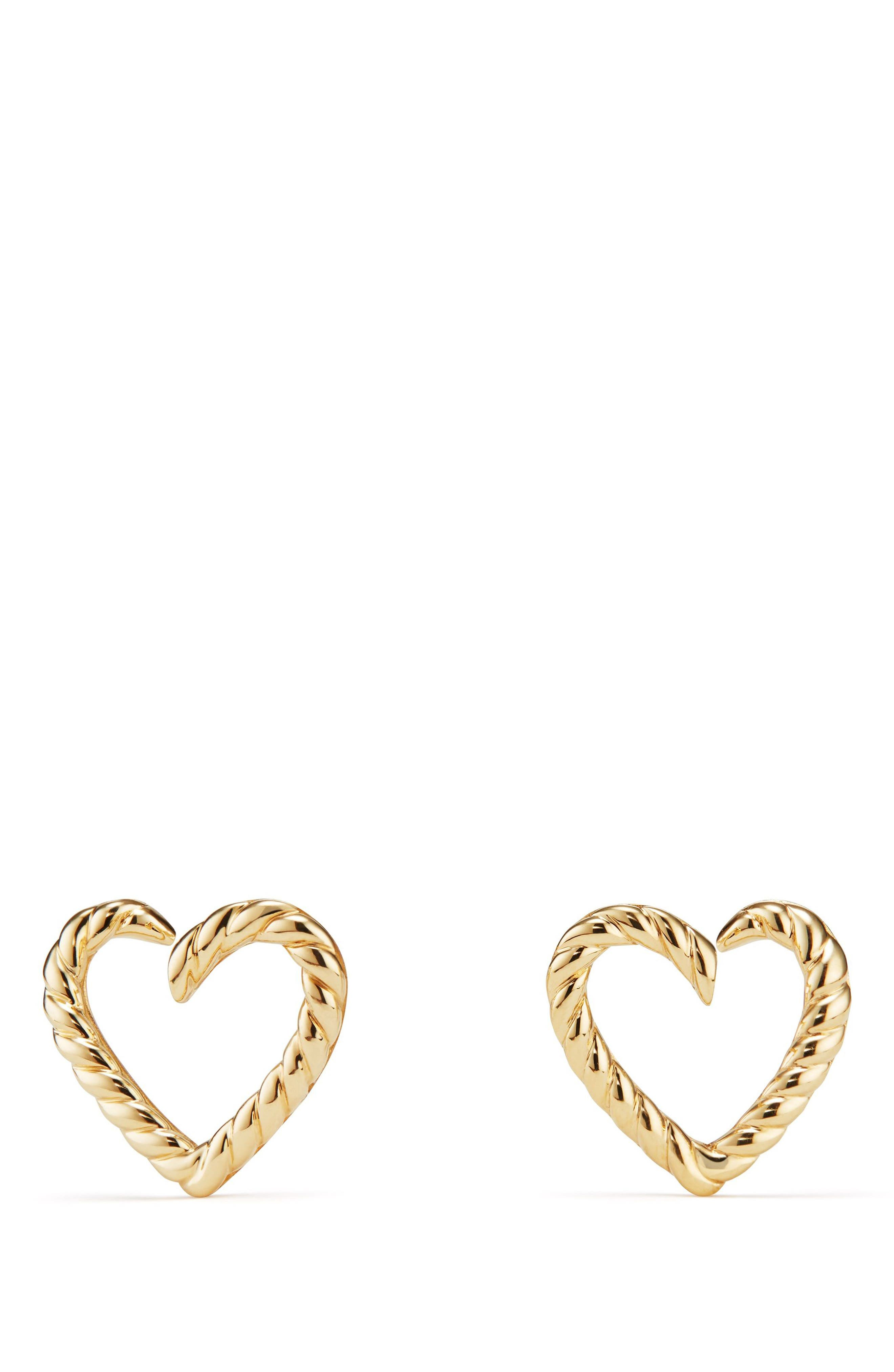 Cable Heart Earring in 18K Gold,                         Main,                         color, Gold