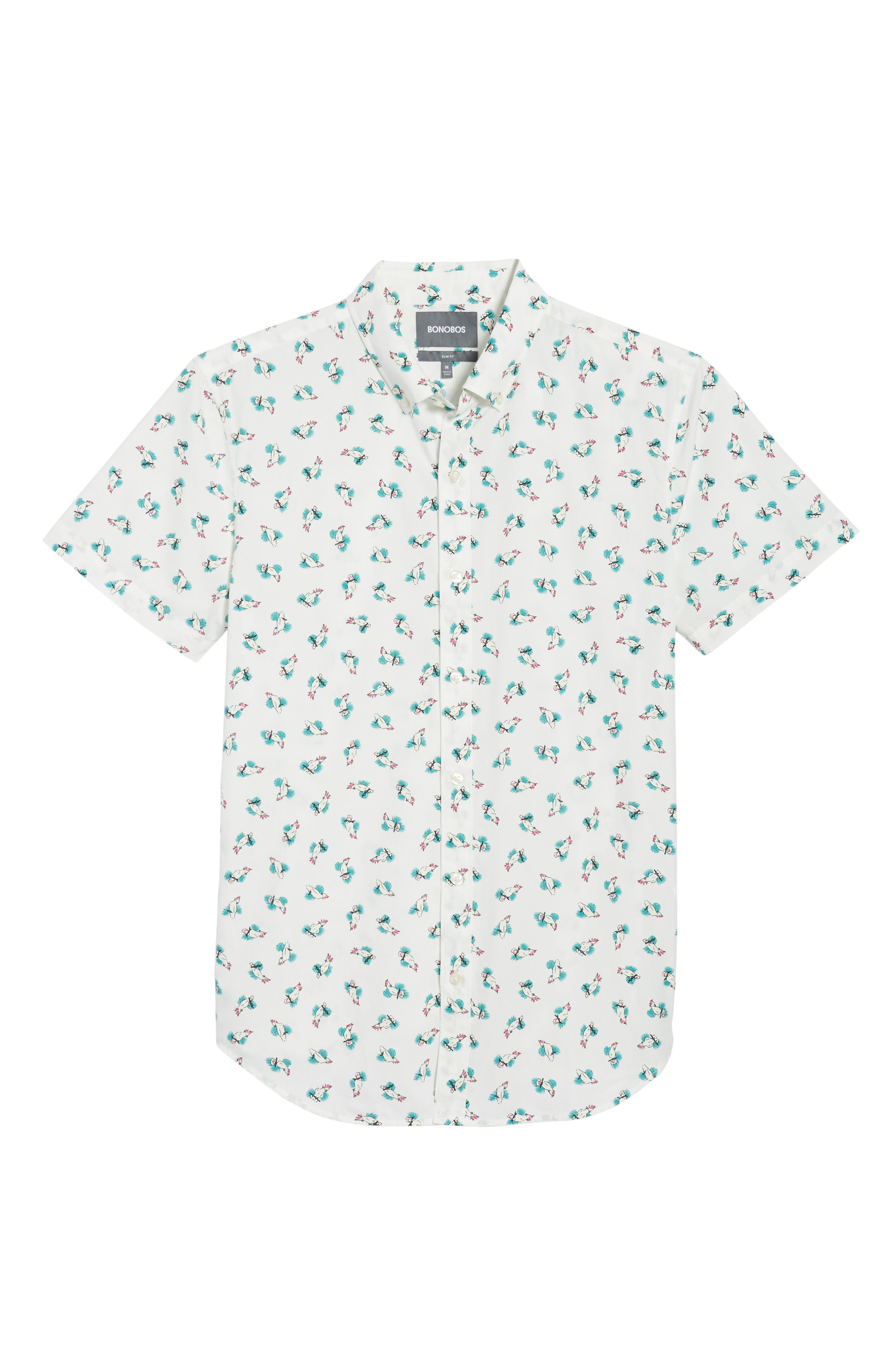Slim Fit Print Short Sleeve Sport Shirt,                             Alternate thumbnail 6, color,                             Cockatoo - Latigo Bay