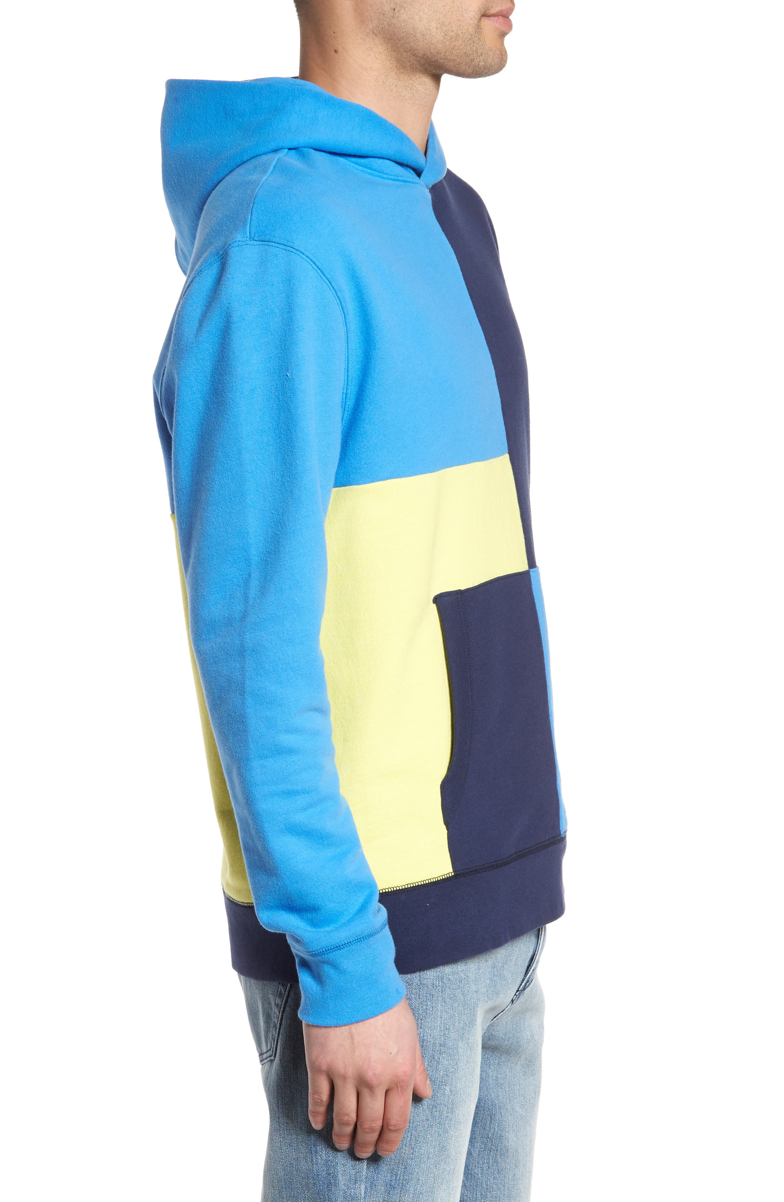 Colorblock Hoodie Sweatshirt,                             Alternate thumbnail 3, color,                             Navy Blue Yellow Block