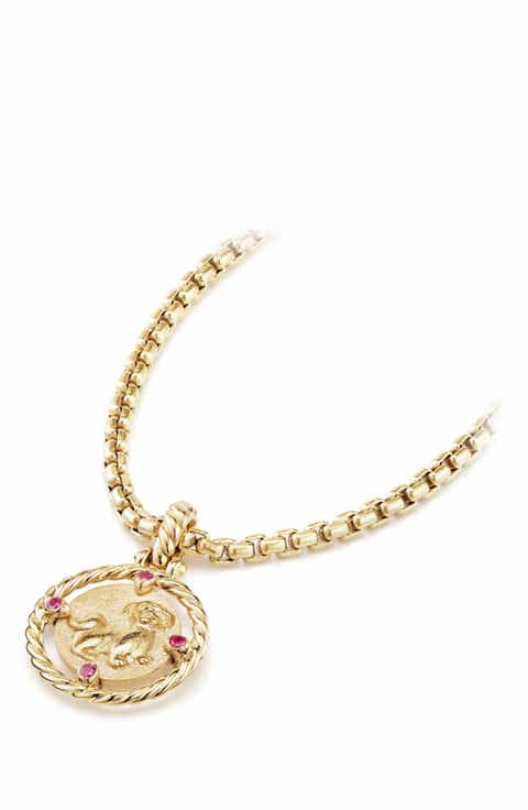 Womens 18k gold pendant necklaces nordstrom david yurman lunar new year charm in 18k gold with rubies aloadofball Gallery