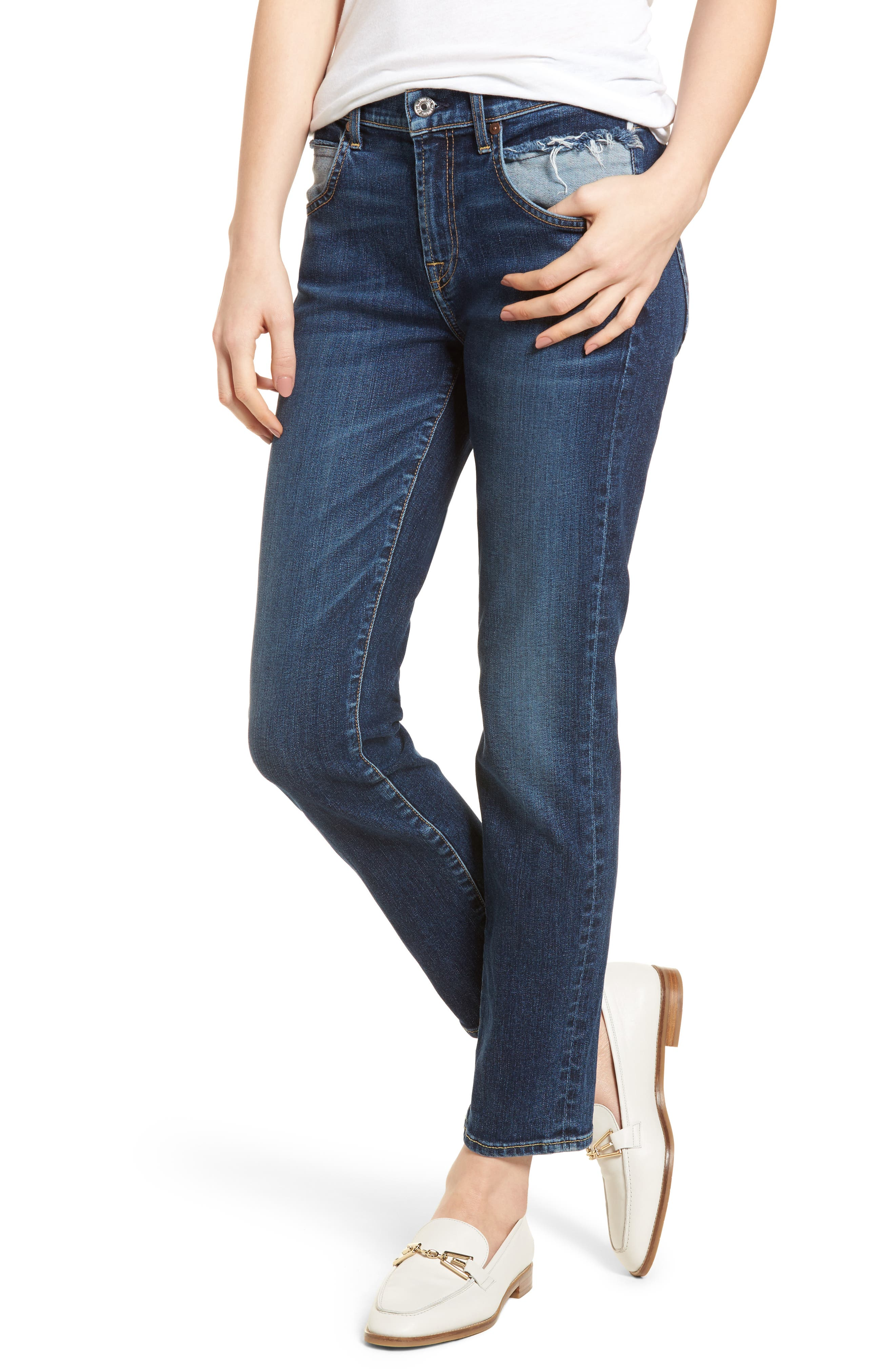 Roxanne Pieced Pocket Ankle Skinny Jeans,                         Main,                         color, Midnight Desert