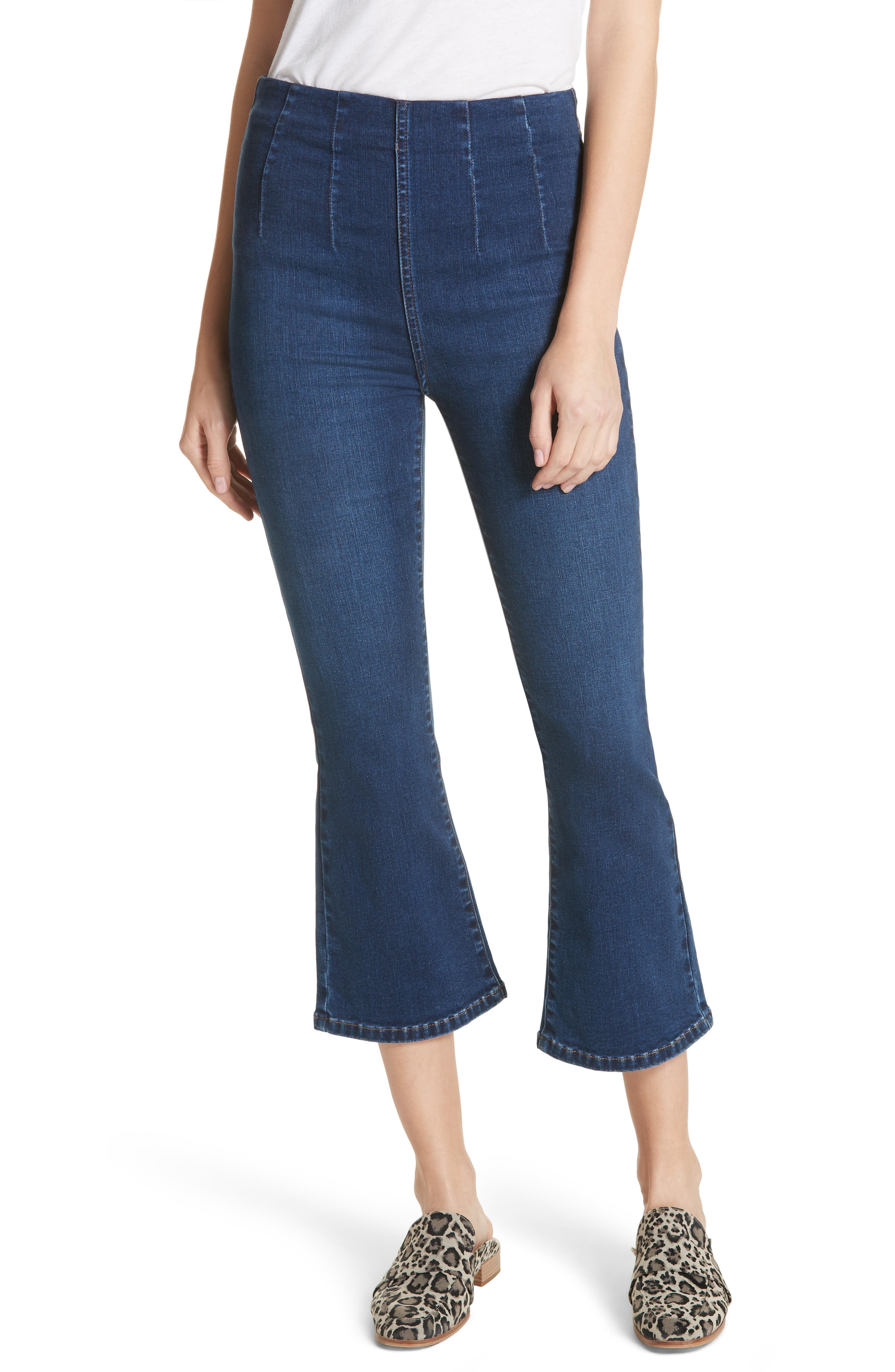 Pull-On Ultra High Waist Crop Bootcut Jeans,                             Main thumbnail 1, color,                             Blue