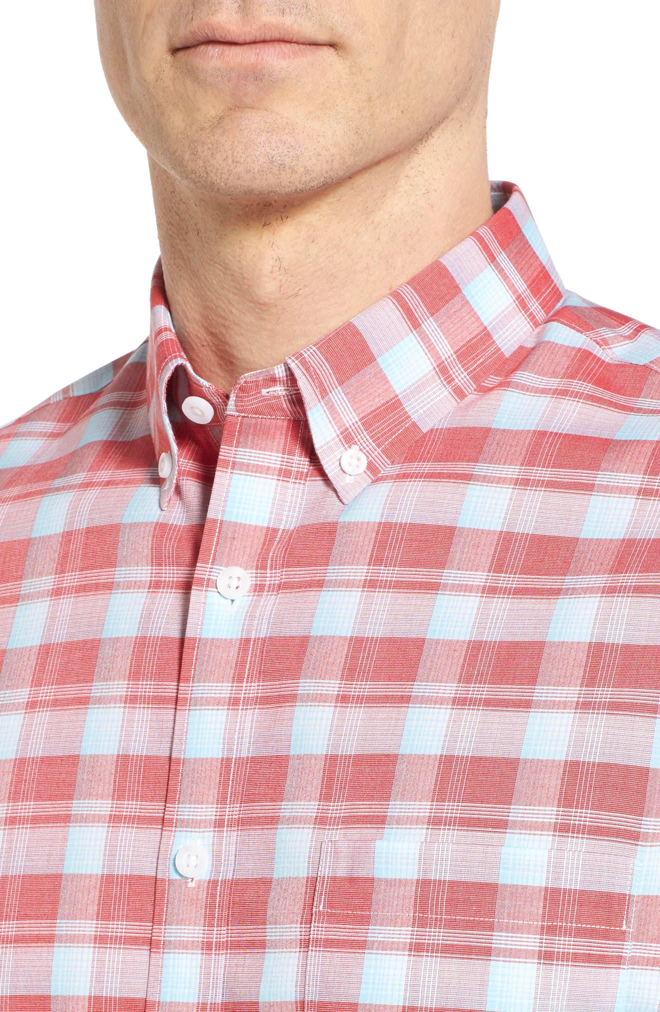 Regular Fit Plaid Sport Shirt,                             Alternate thumbnail 2, color,                             Red Pompeii Blue Check