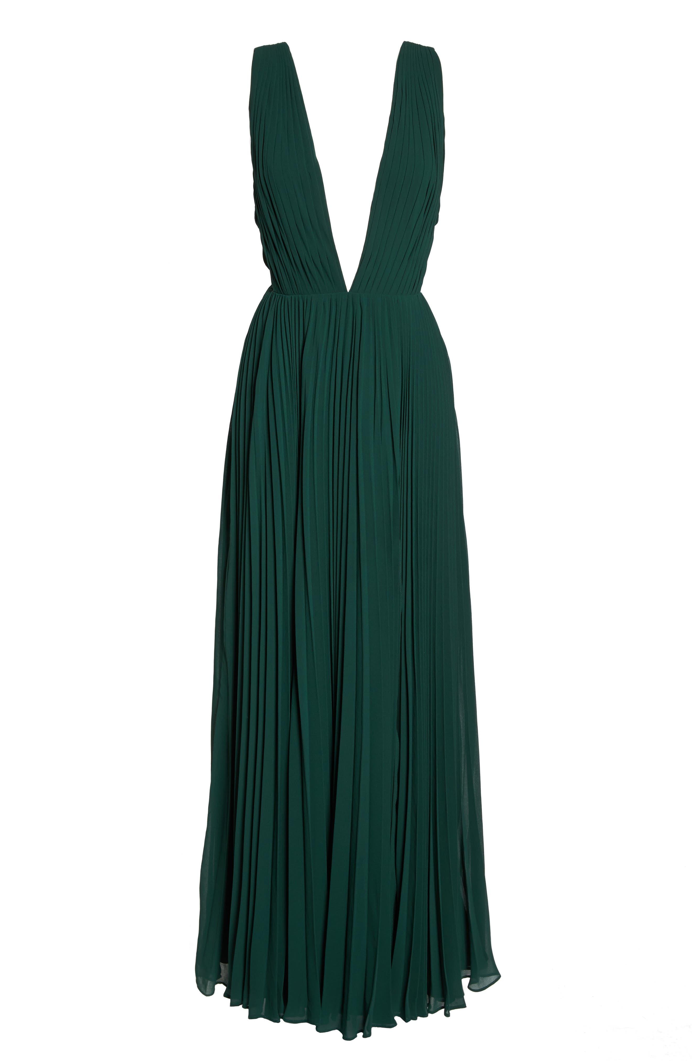 Fame & Partners Allegra Pleat Gown,                             Alternate thumbnail 6, color,                             Dark Forest